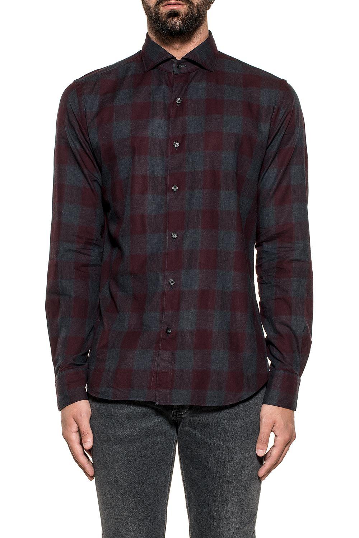 XACUS Gray/Bordeaux Checked Shirt