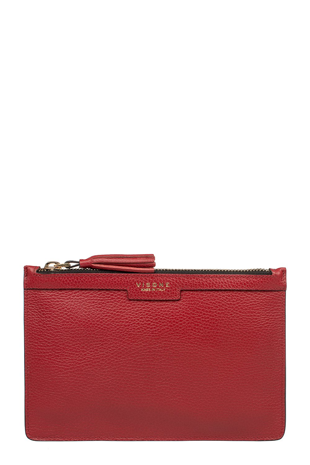 Red Hammared Leather Kim Cluch