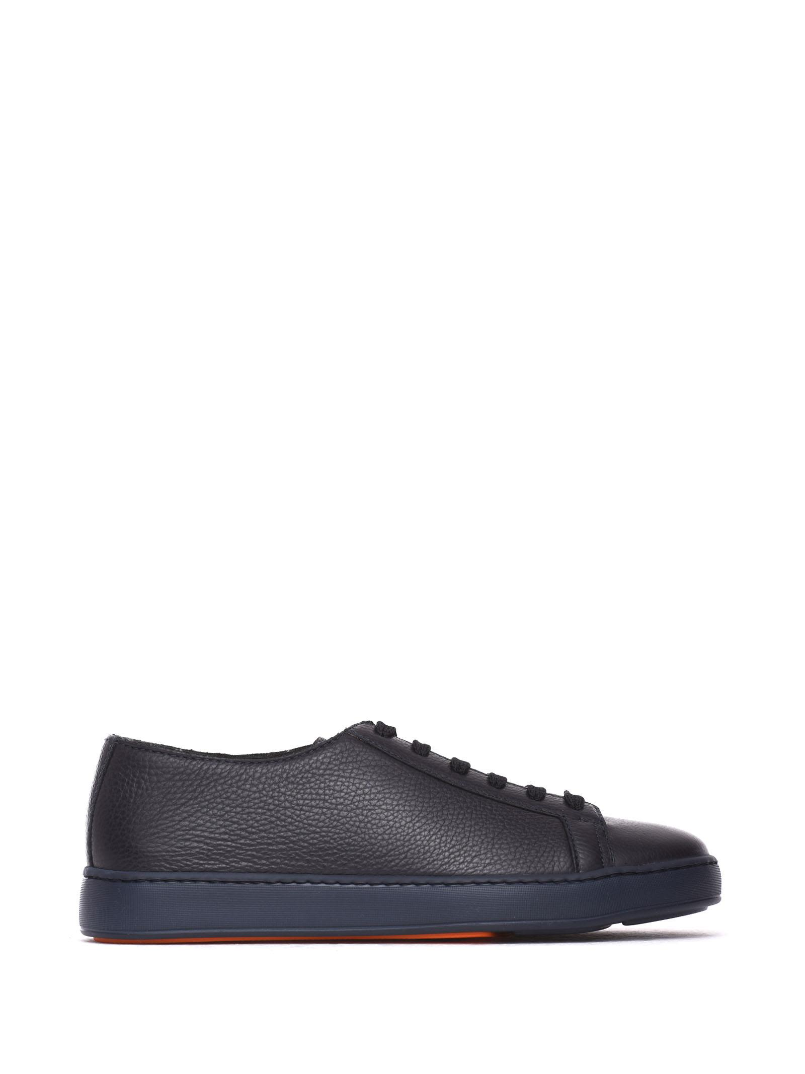 Lace-up Sneakers In Blue Leather