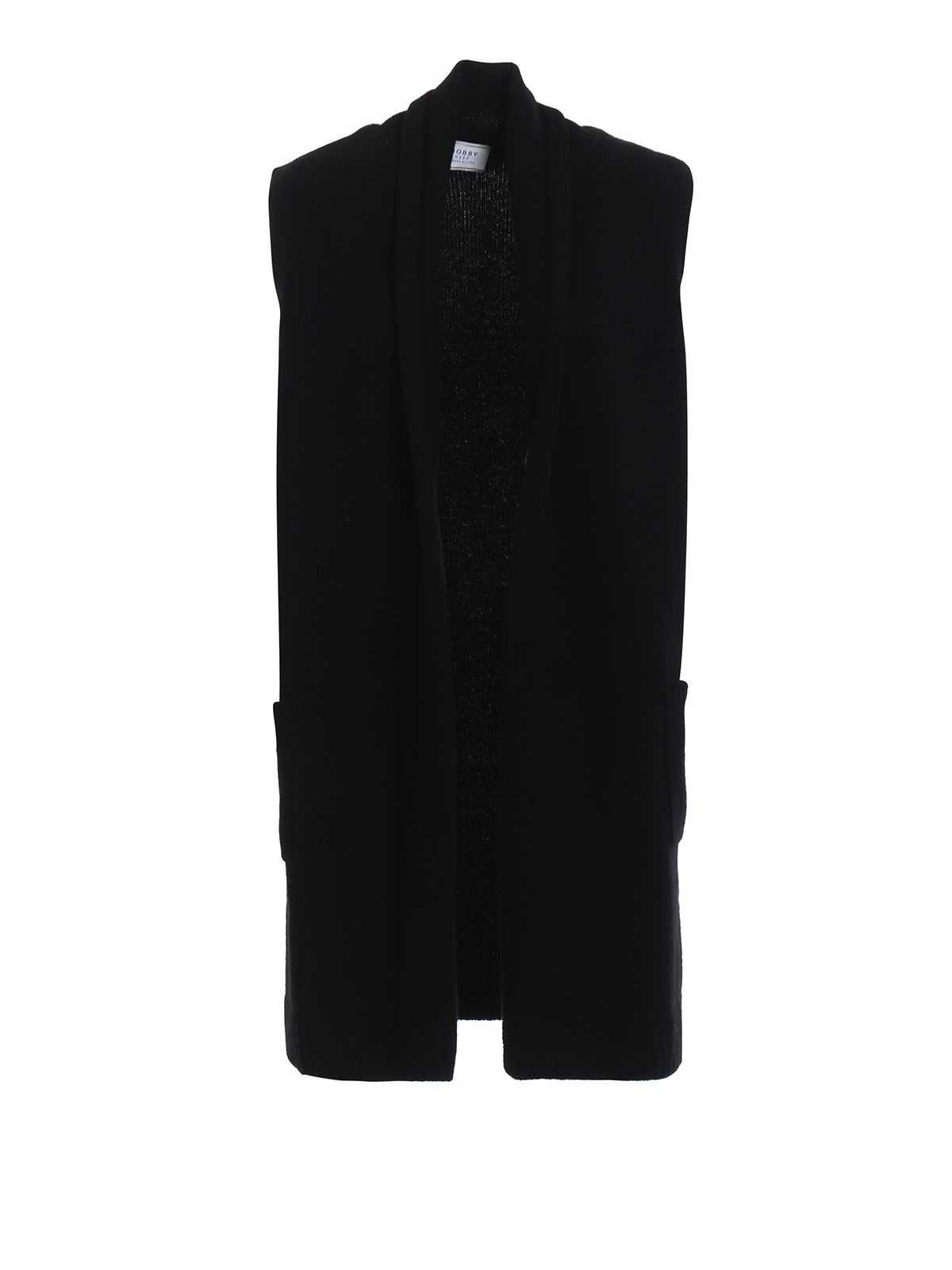 Patched Pocket Gilet Cardigan in Nero