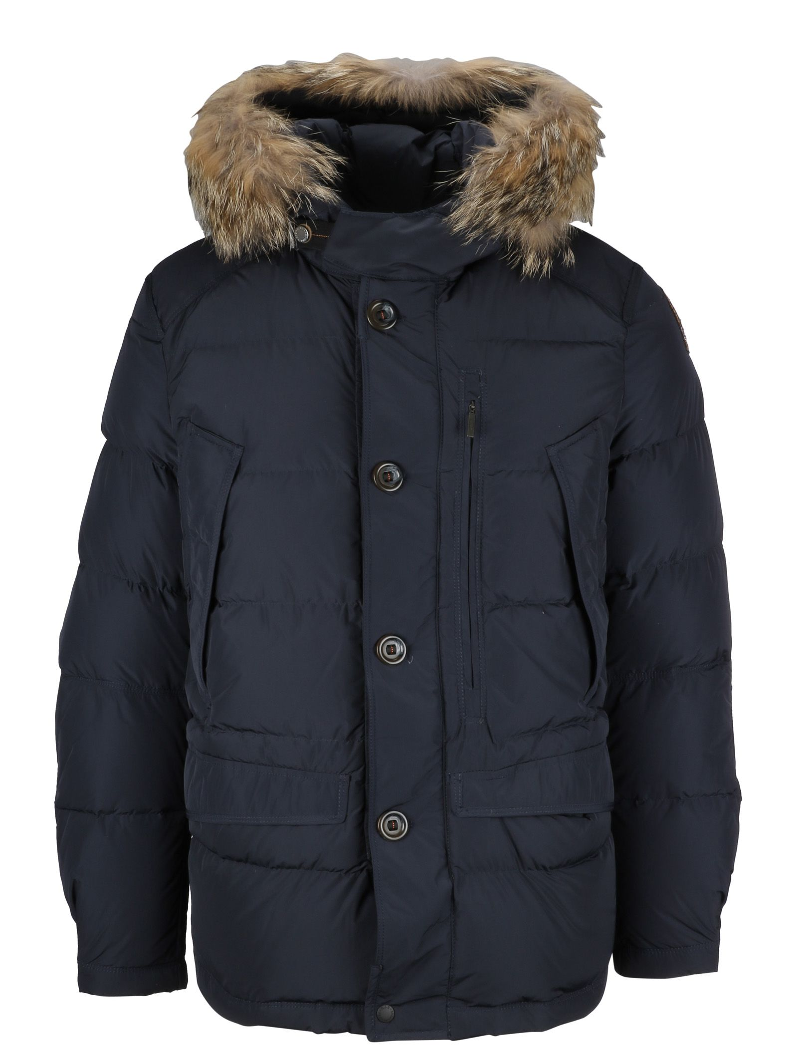 PARAJUMPERS FUR HOOD PADDED JACKET, BLUE BLACK