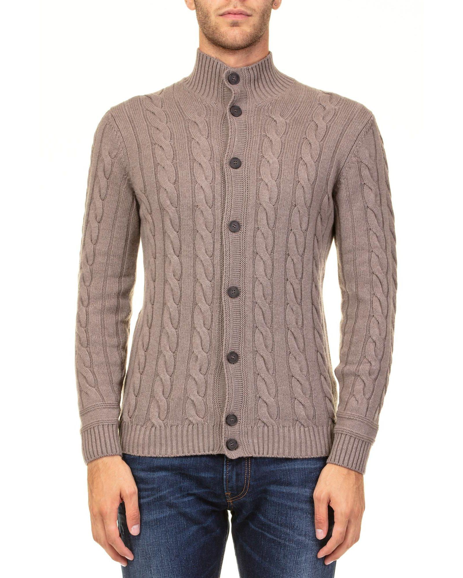 KANGRA Wool Blend Cardigan in Brown