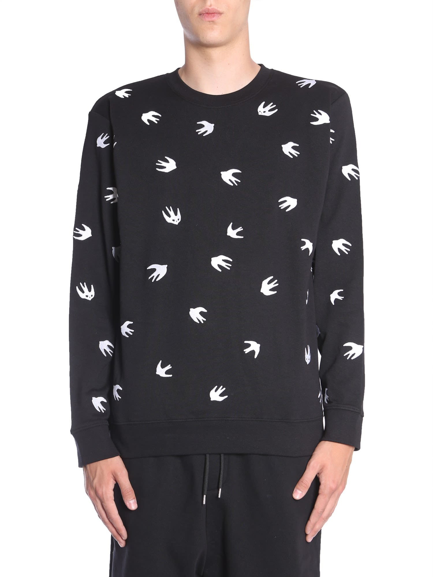 MCQ BY ALEXANDER MCQUEEN SWEATSHIRT WITH EMBROIDERED SWALLOW