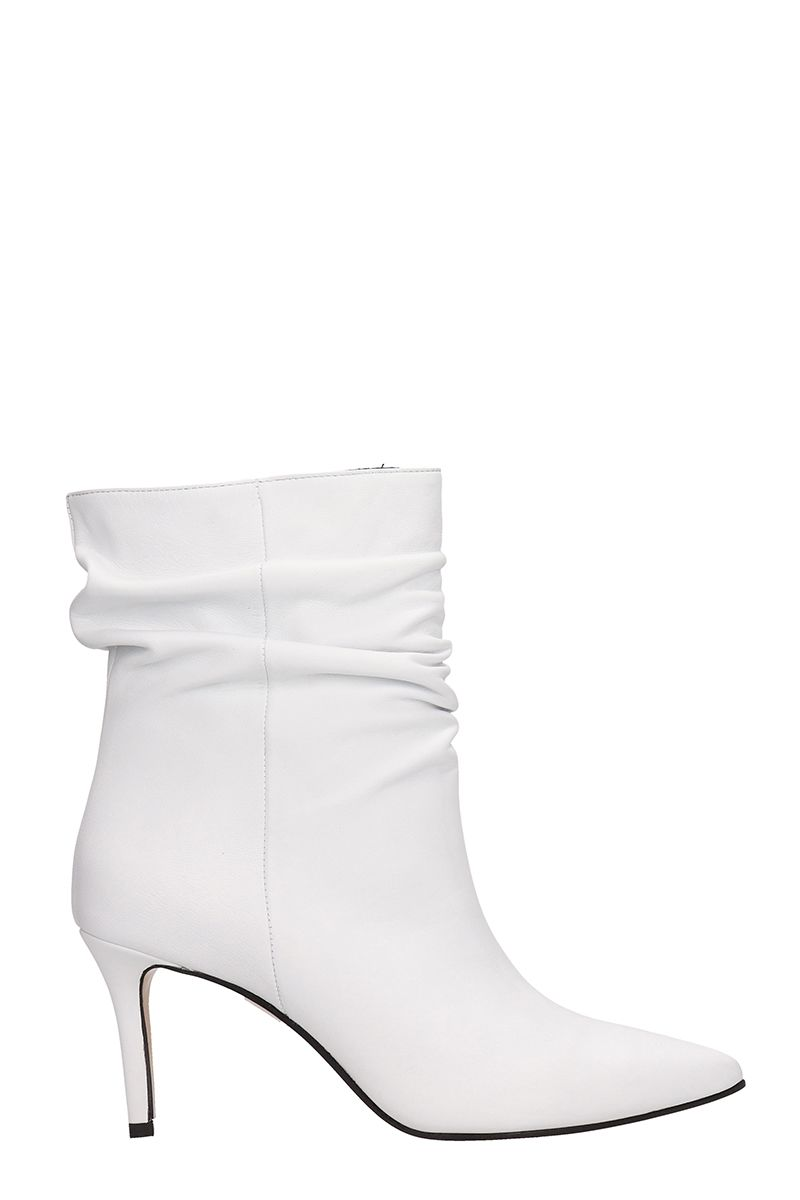 White Leather Draped Ankle Boots in Bianco