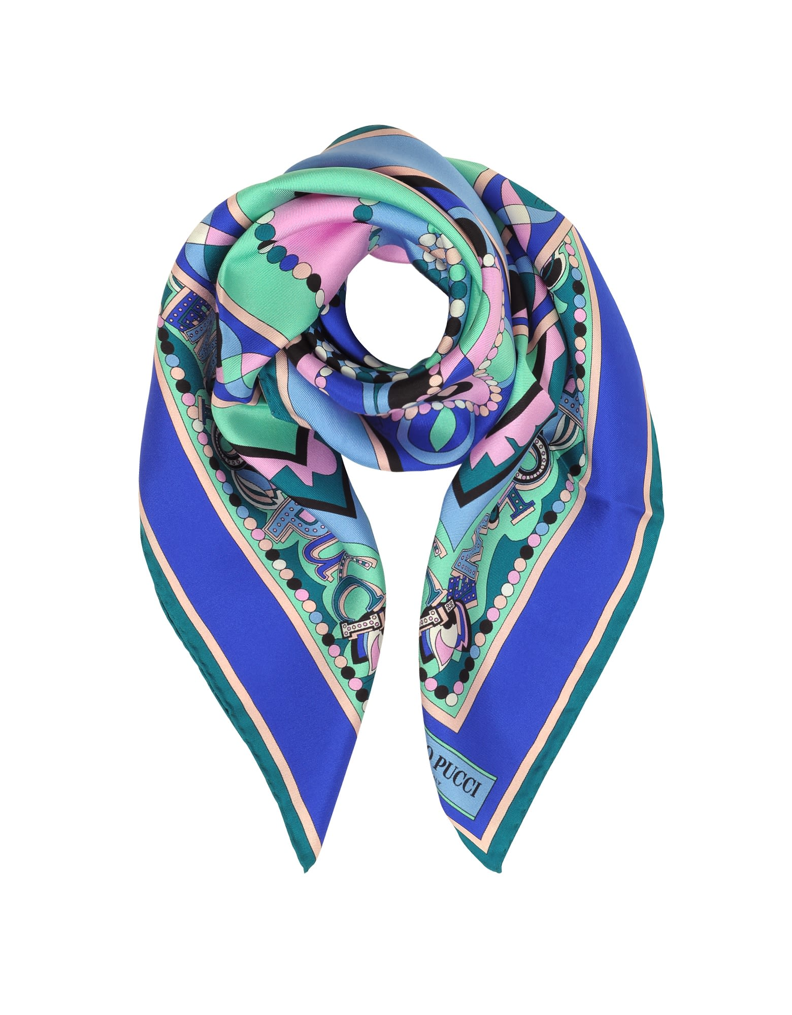 Emilio Pucci Cobalt Blue/peony Pink Geometric And Signature Printed Silk Square Scarf
