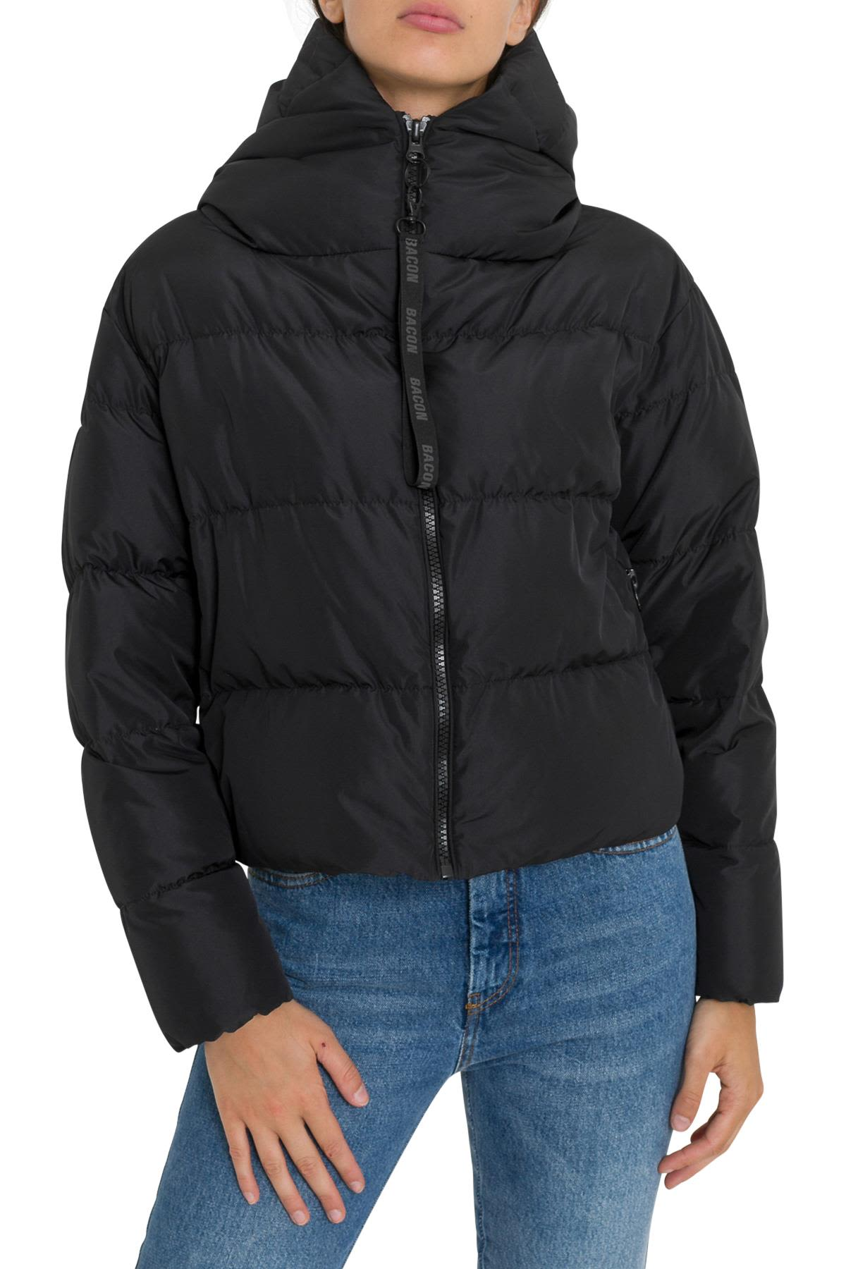 BACON CLOTHING Short Down Jacket With Hood in Nero