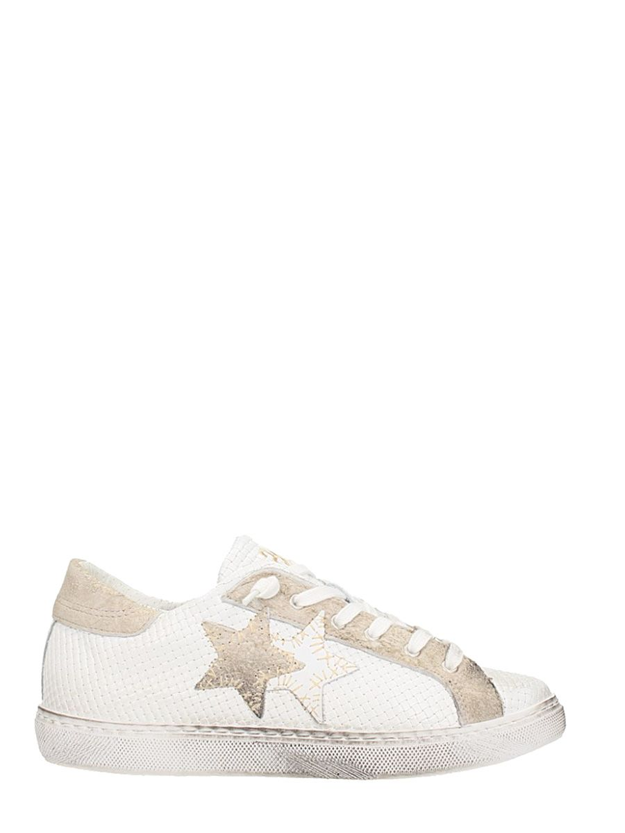2star female 2star low white leather sneakers