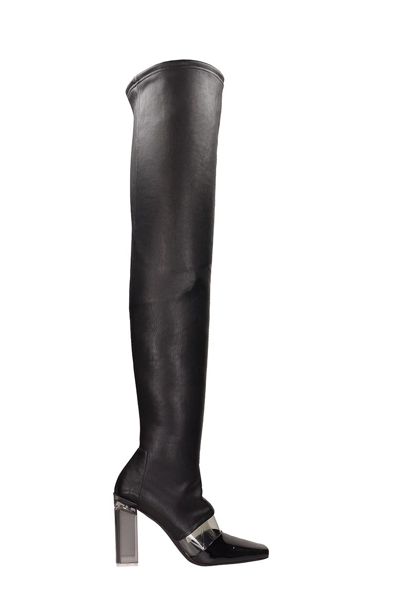 ARCOSANTI Patent Leather High Boots in Black