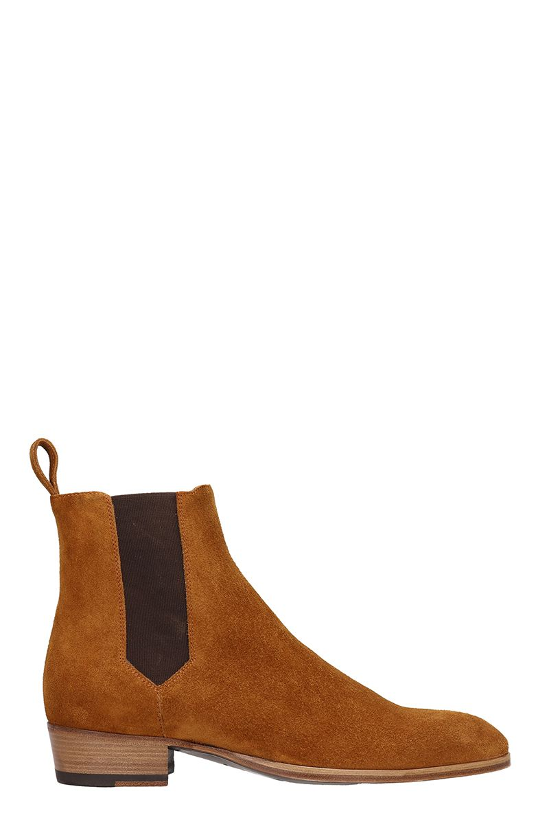 BARBANERA Brown Suede Beatles Ankle Boots in Leather Color