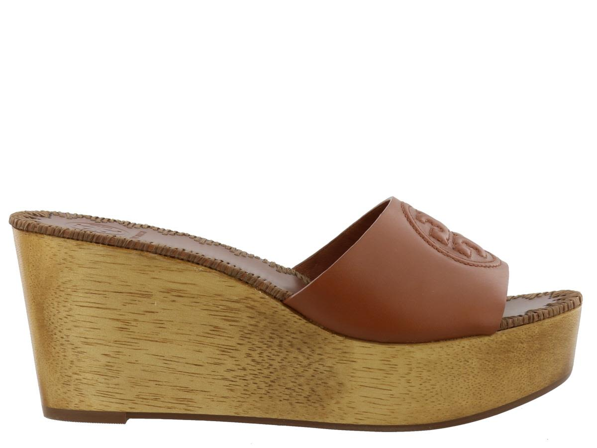 fa9447a3366 Tory Burch Women S Patty Leather Platform Wedge Slide Sandals In Perfect  Cuoio