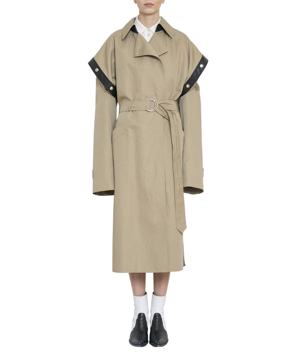 Belted Leather-Trimmed Cotton And Linen-Blend Trench Coat, Beige