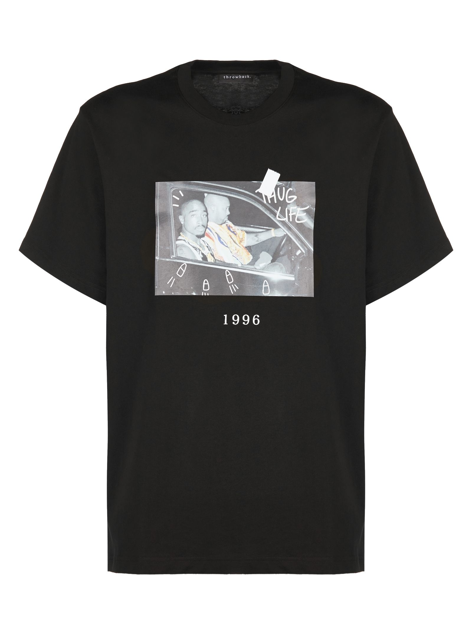 THROWBACK. 2Pac Shootout Print T-Shirt in Nero Multicolor