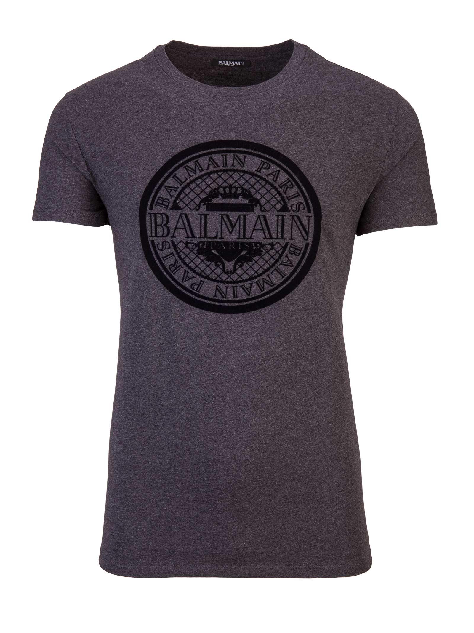 balmain paris t shirt grigio 10635052 italist. Black Bedroom Furniture Sets. Home Design Ideas