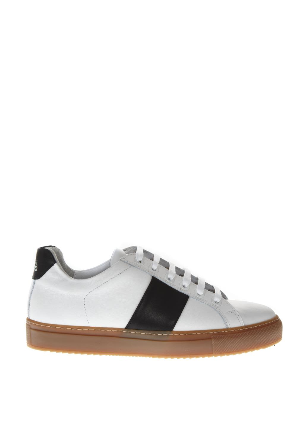 NATIONAL STANDARD White Leather Honey Sole Blue Bands Sneakers
