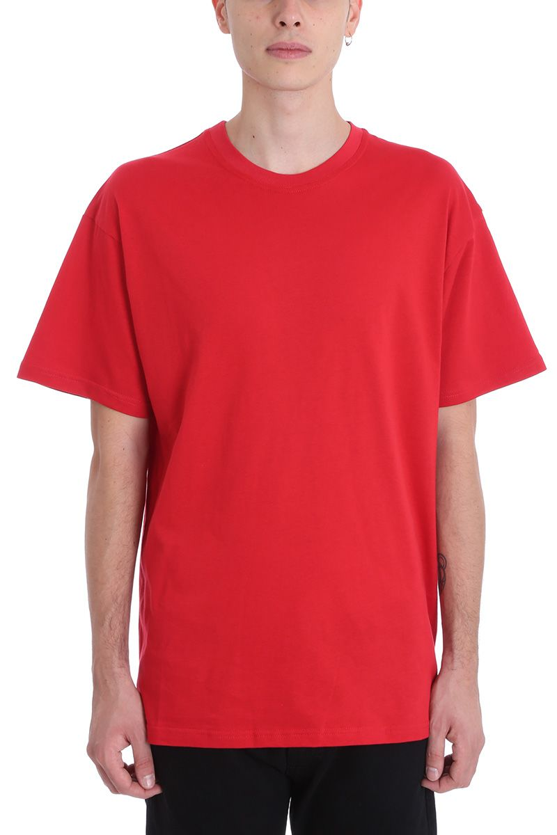 REPRESENT ESSENTIAL RED COTTON T-SHIRT