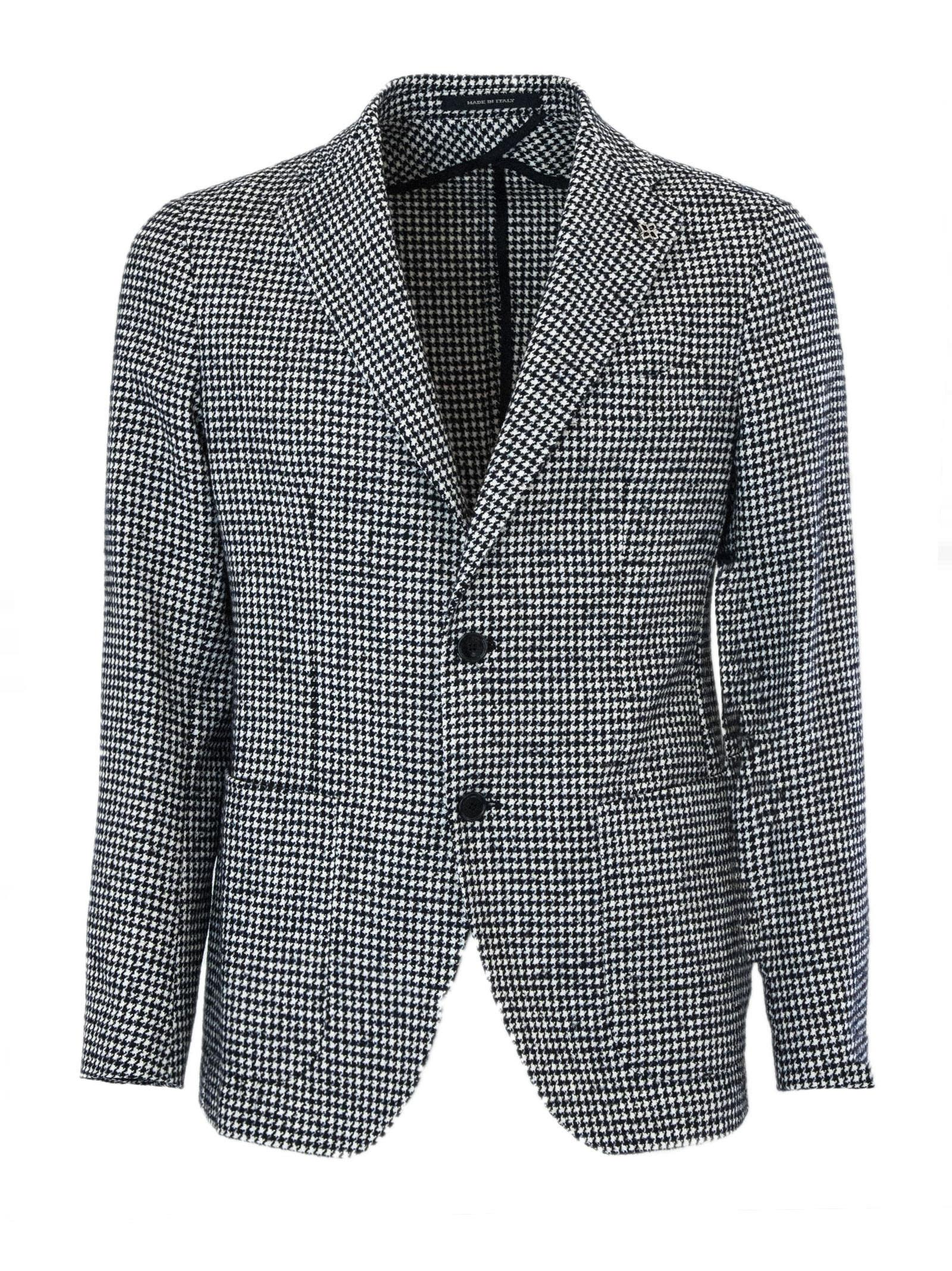 Black And White Wool And Cotton Jacket.