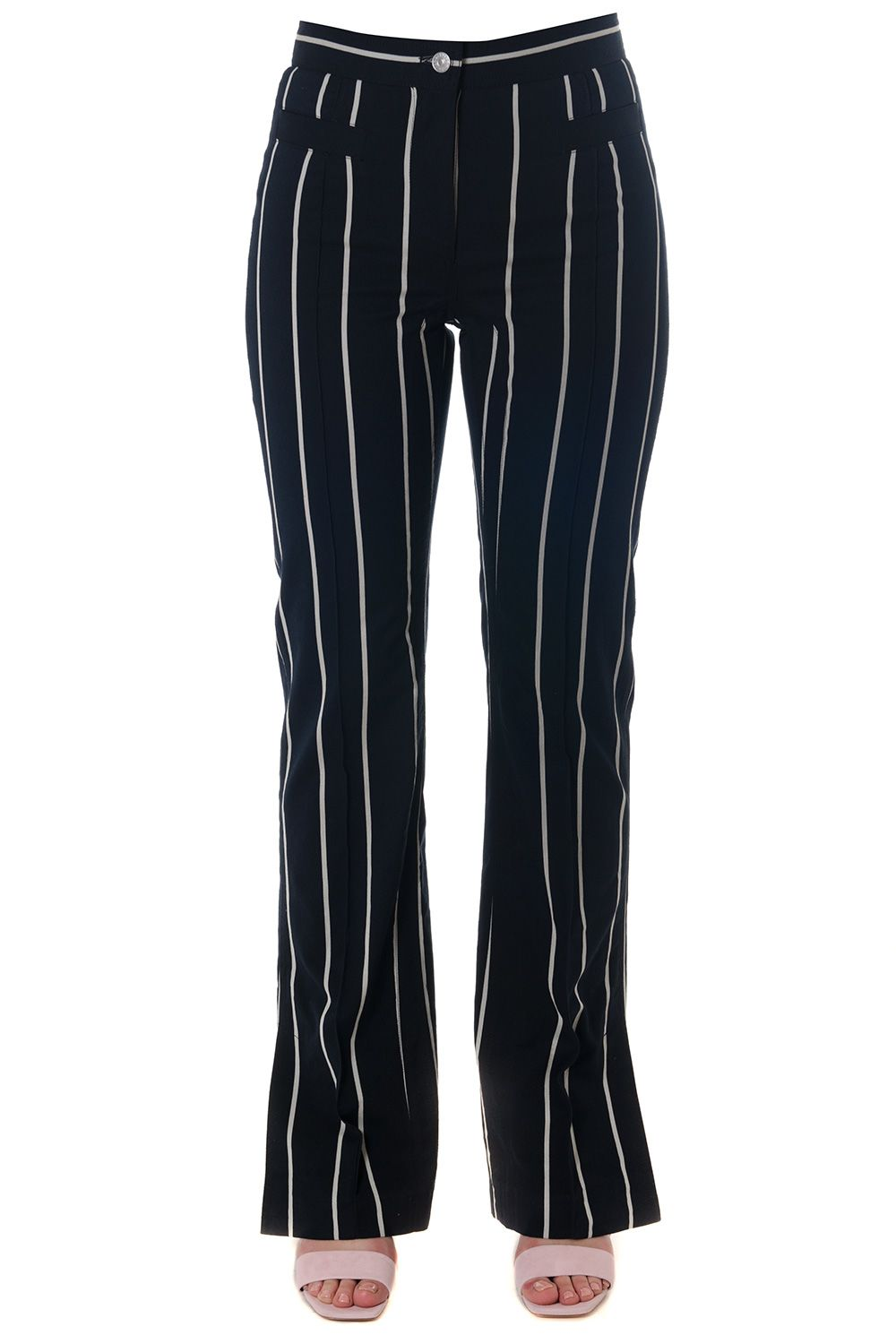 CELINE COTTON BLEND STRIPED TROUSERS, BLACK-WHITE