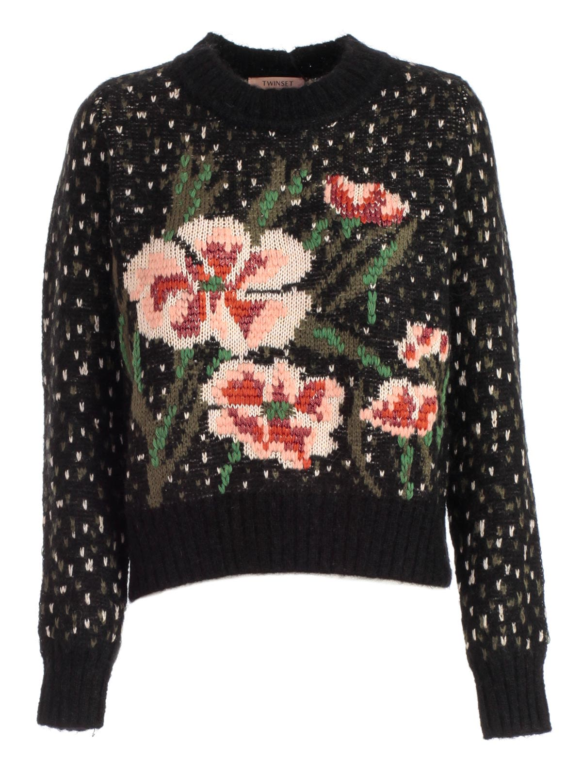 Twin-set Intarsia Knit Floral Sweater