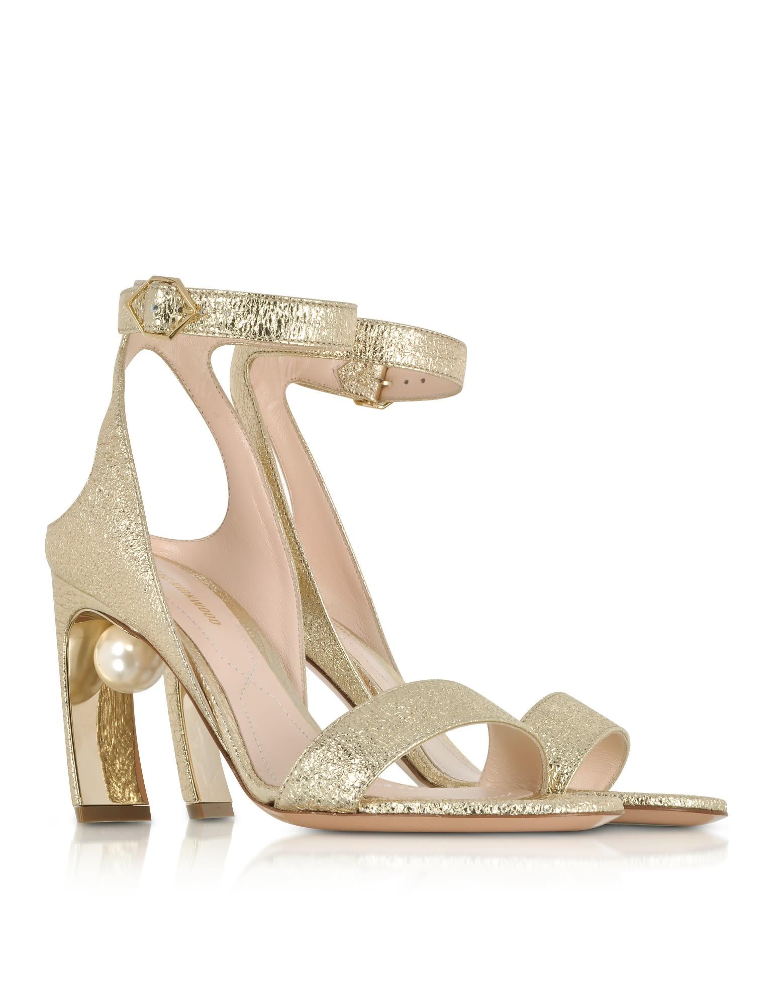 Nicholas Kirkwood Designer Shoes, Crinkly Metallic Leather 90mm Lola Pearl Sandals