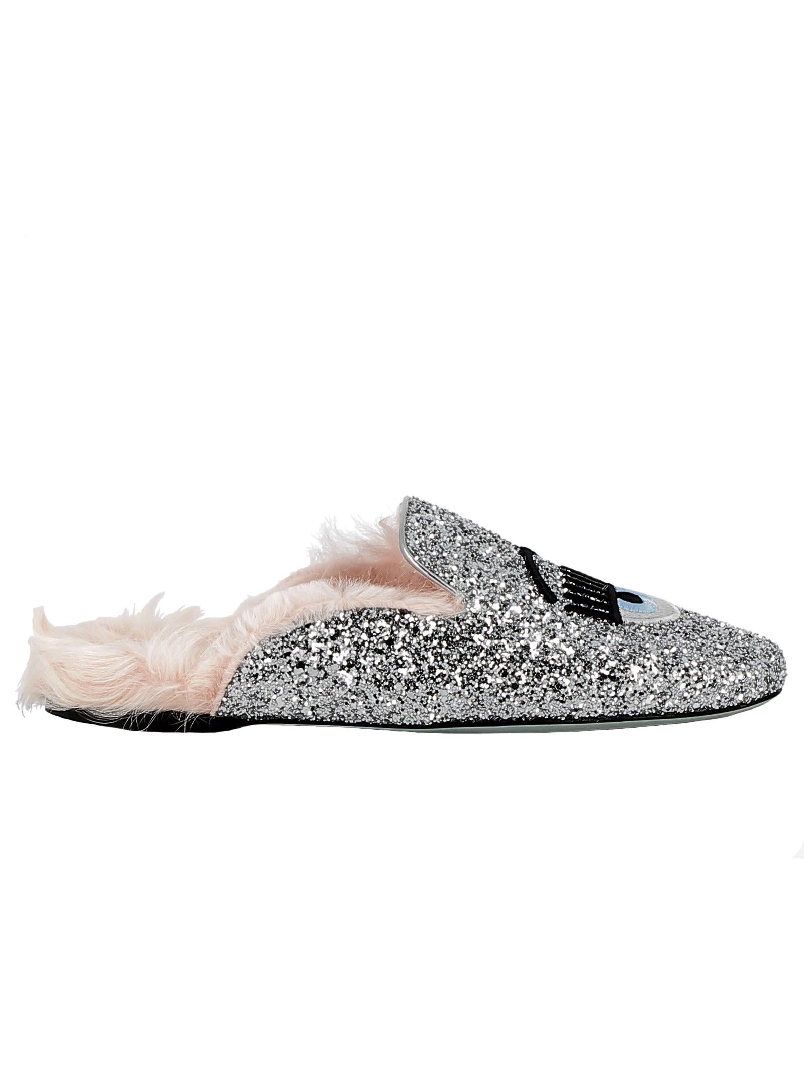 Silver Glitter Slippers