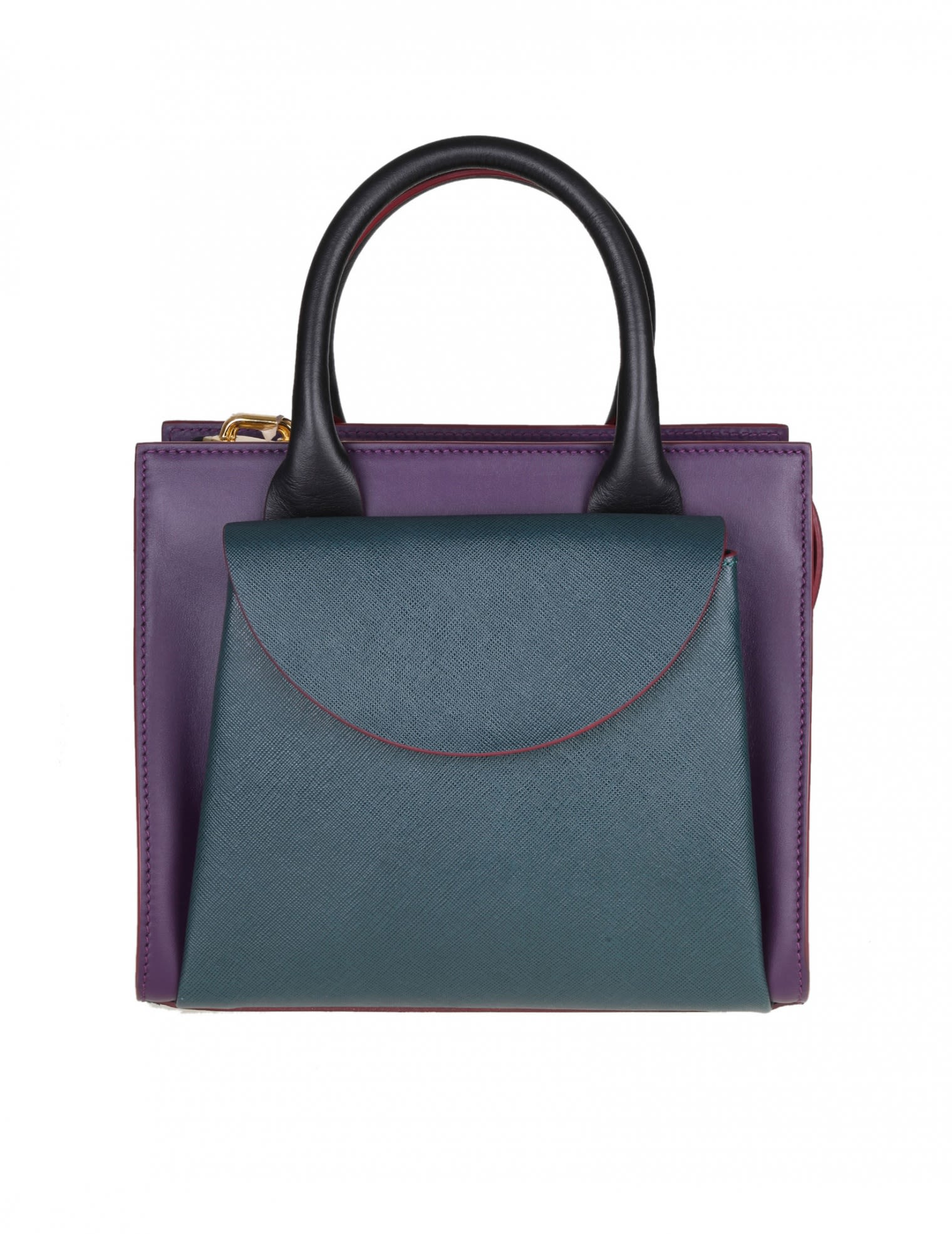 LOW HAND BAG IN VIOLET AND PETROLIO CALF