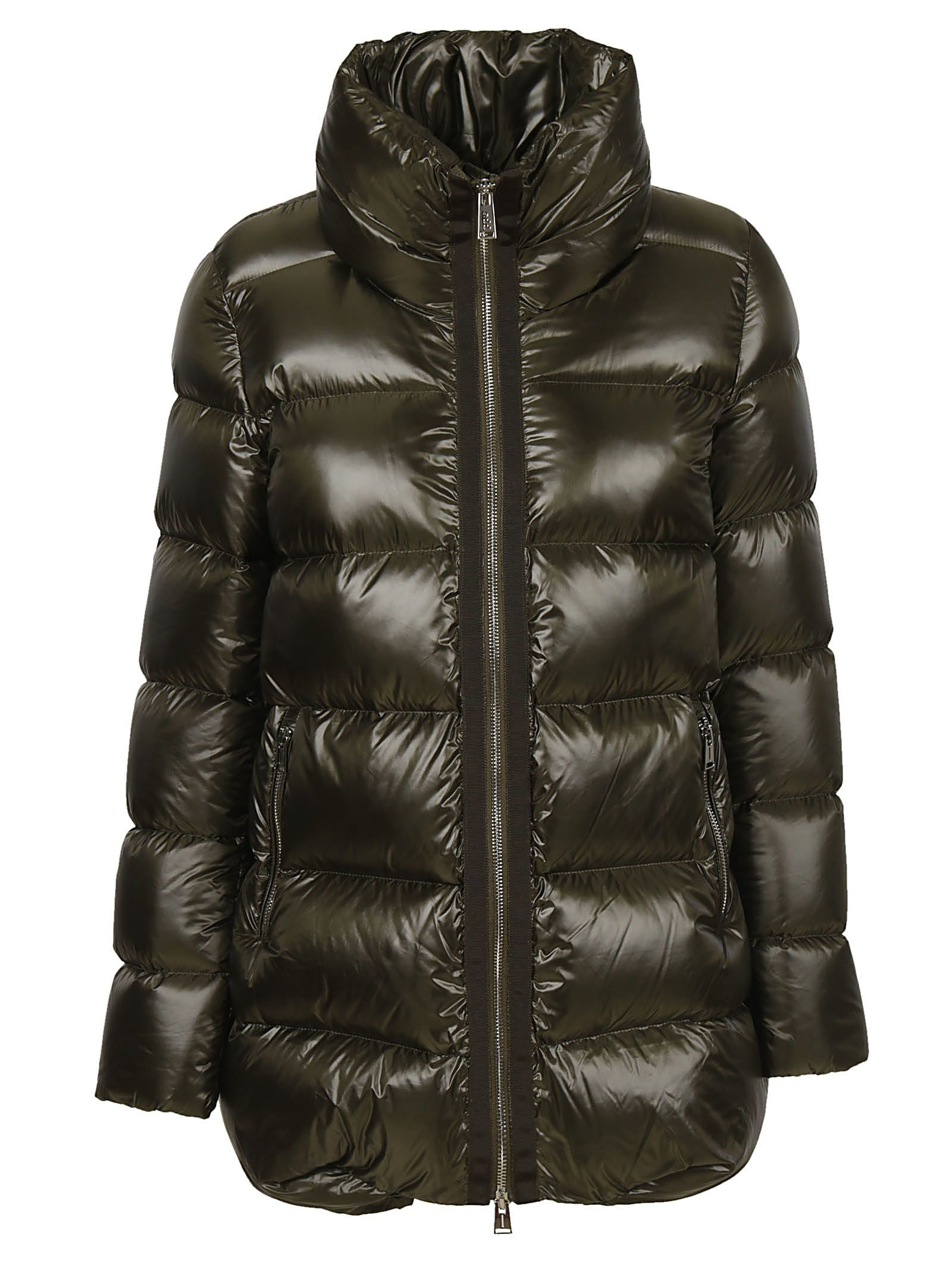 ADD Zipped-Up Padded Jacket in Verde Militare