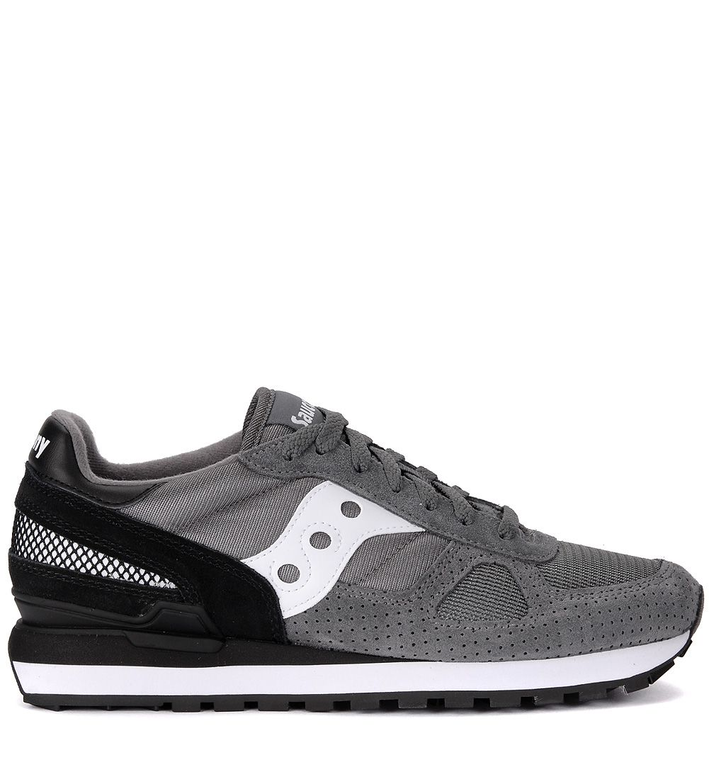 SHADOW GREY AND BLACK SUEDE AND FABRIC SNEAKER