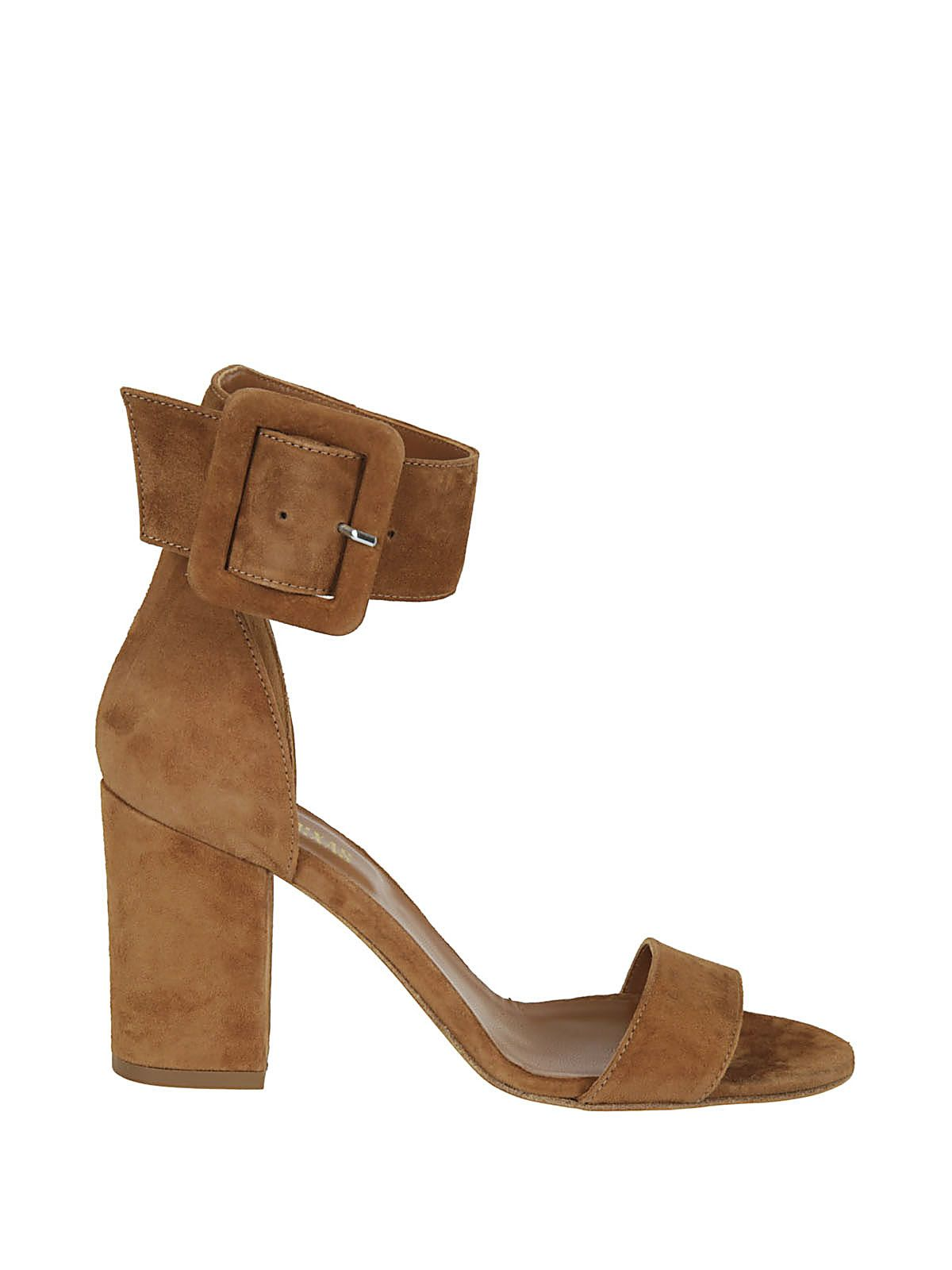 Tan leather sandals with buckle PARIS TEXAS yQnRxLp1