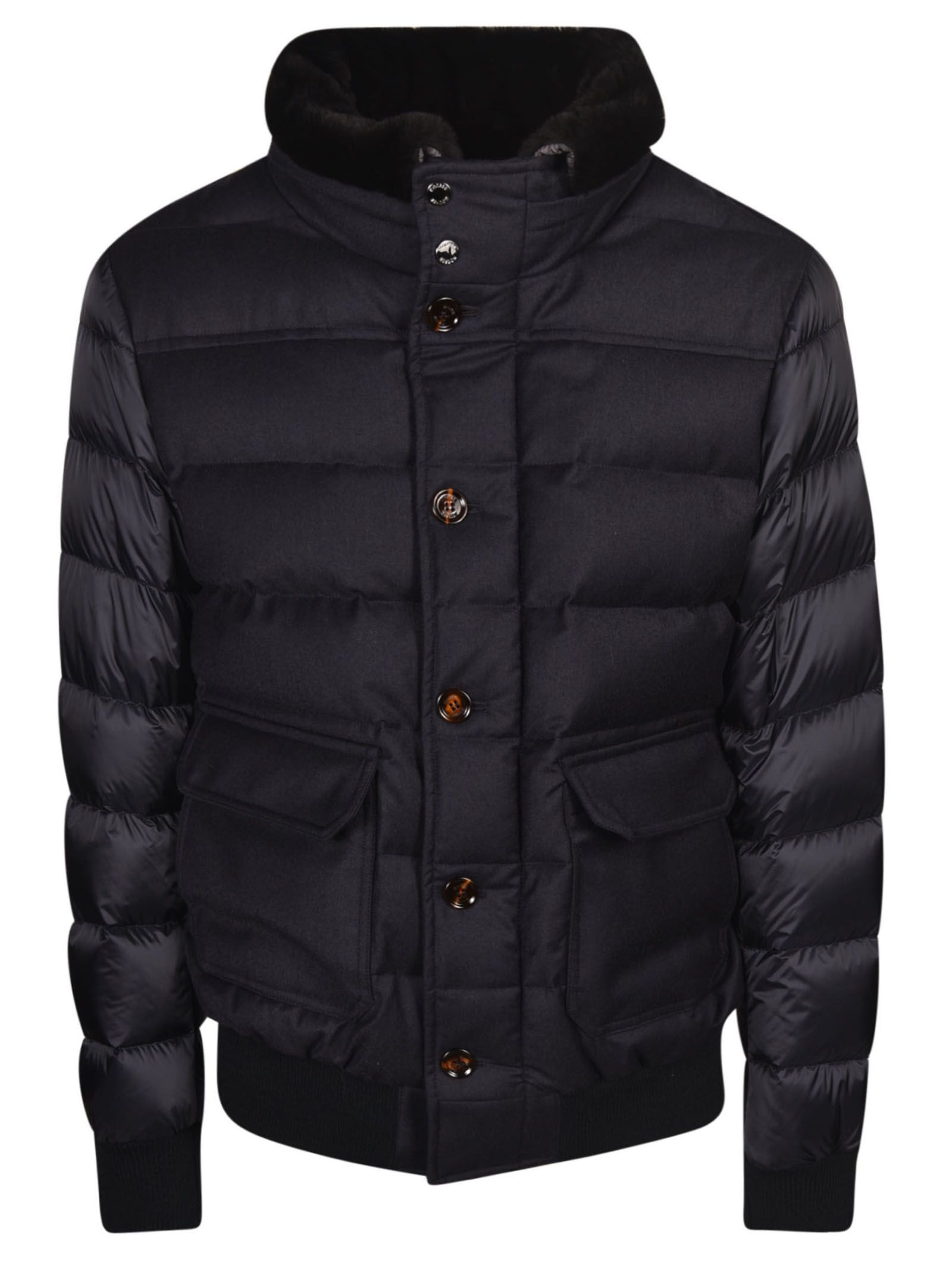 MOORER Buttoned Padded Jacket in Blu