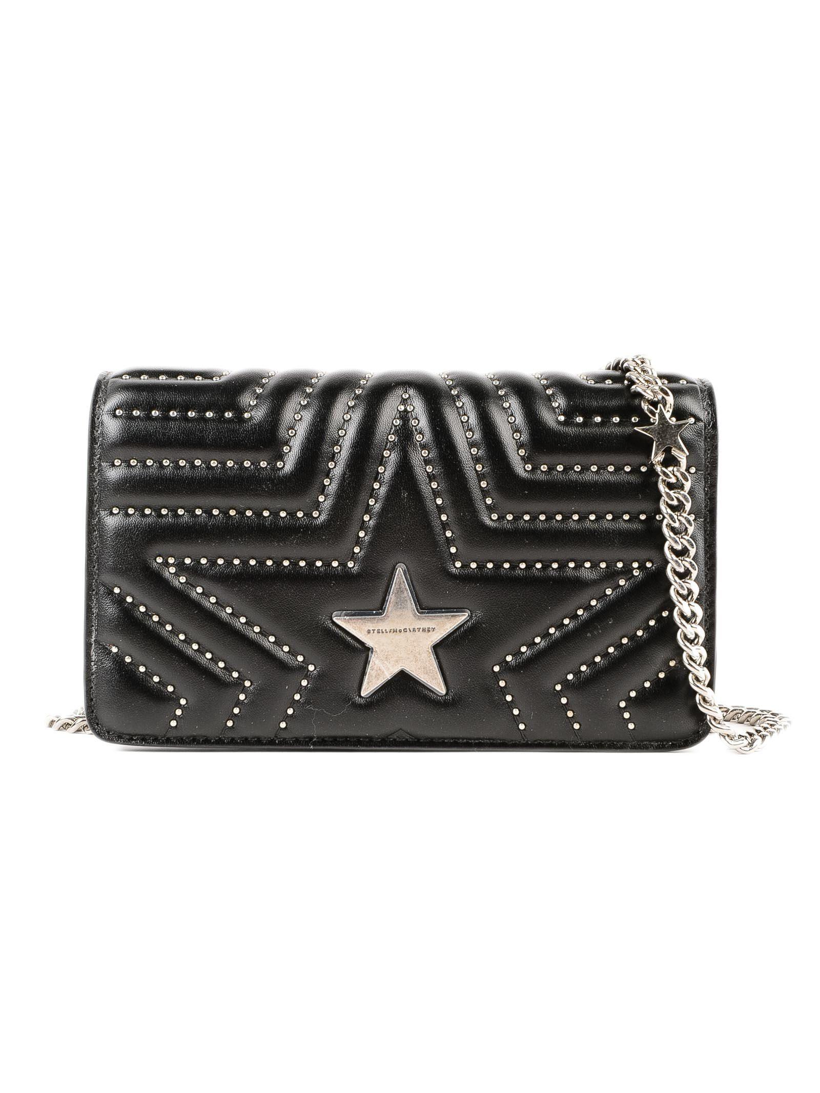 2b9cfc773e86 Stella Mccartney Star Quilted Shoulder Bag In Black