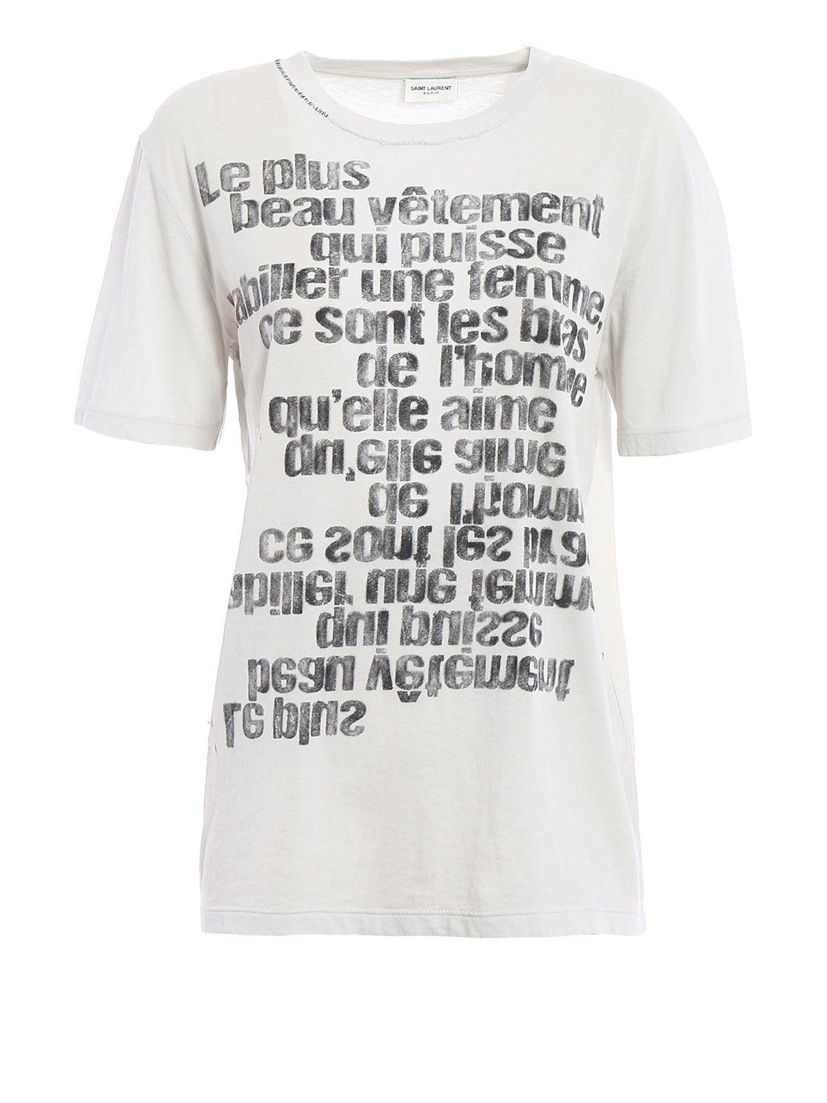 Saint laurent saint laurent mirrored slogan print t for Saint laurent shirt womens