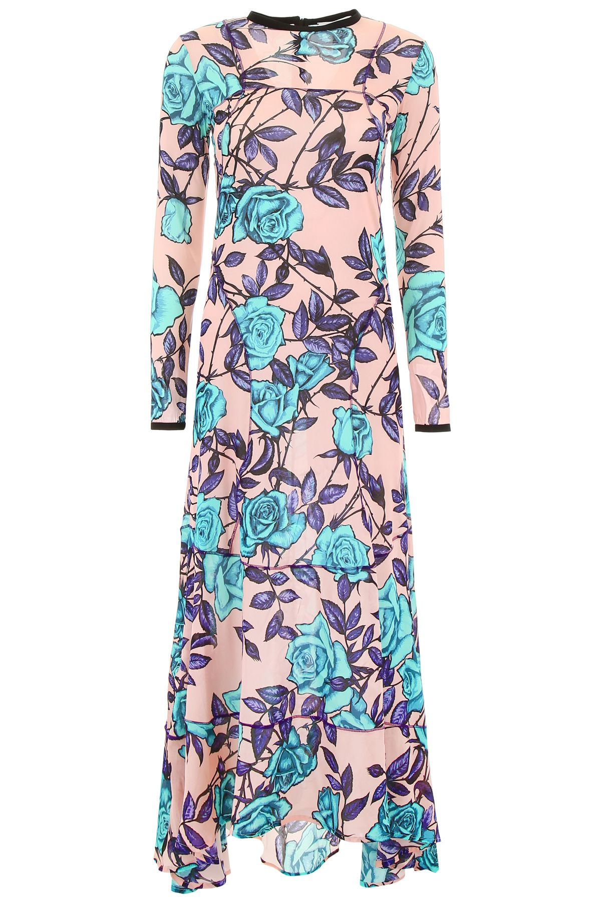 SCRAMBLED EGO Long Dress With Roses in Pink Violet