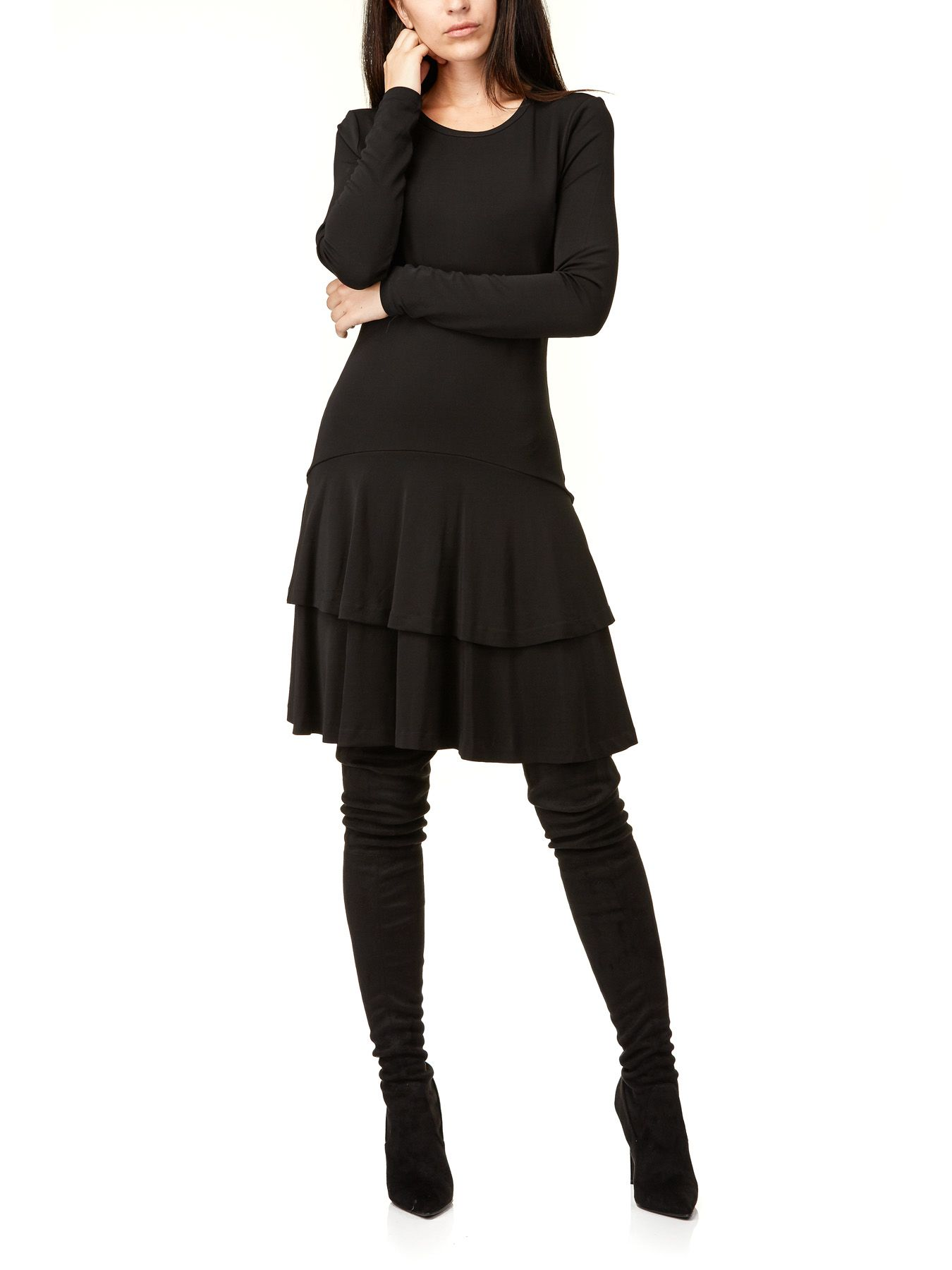 Solid Crewnk Flnc Dress