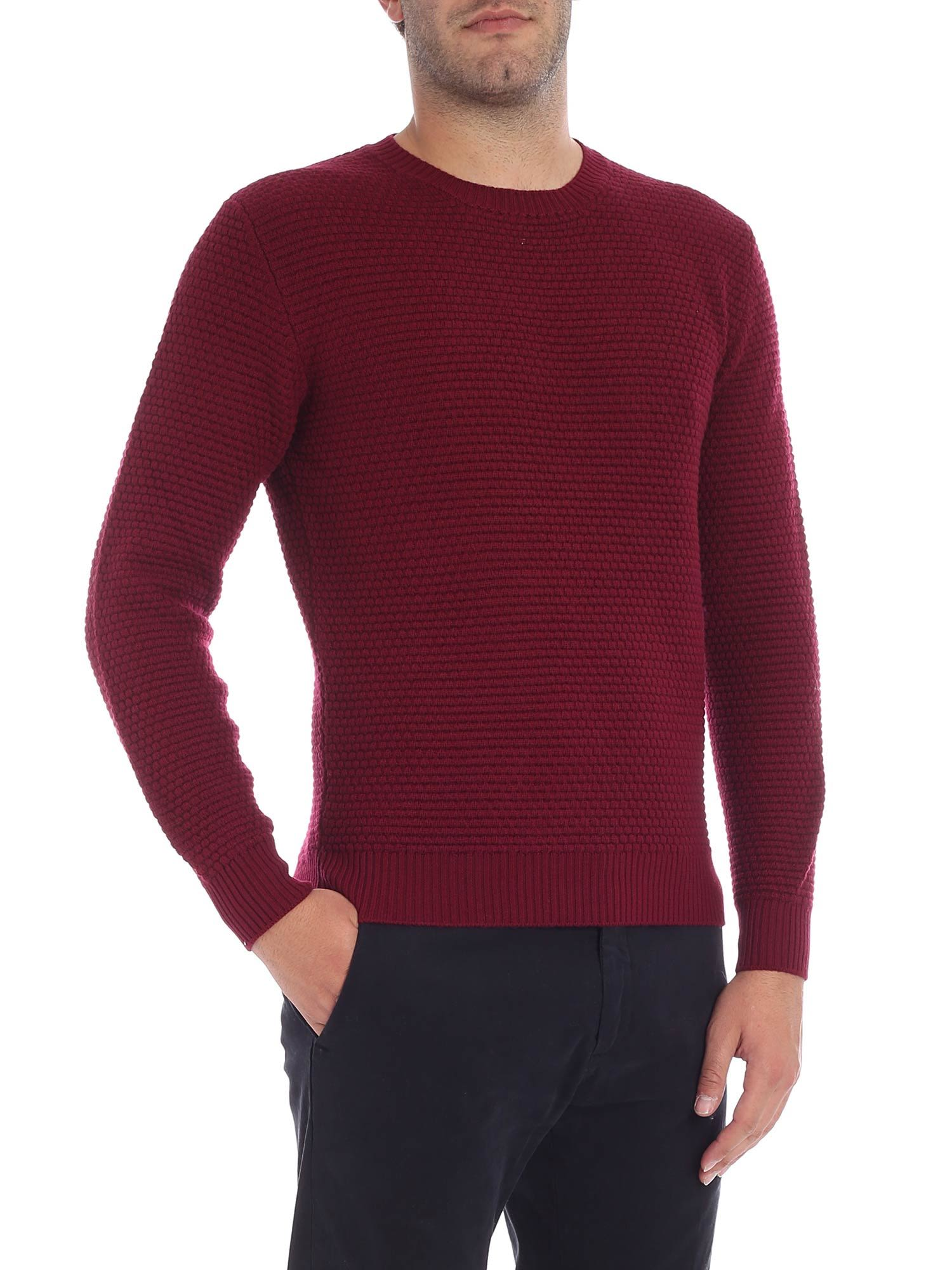 LUIGI BORRELLI Knitted Detail Jumper in Red