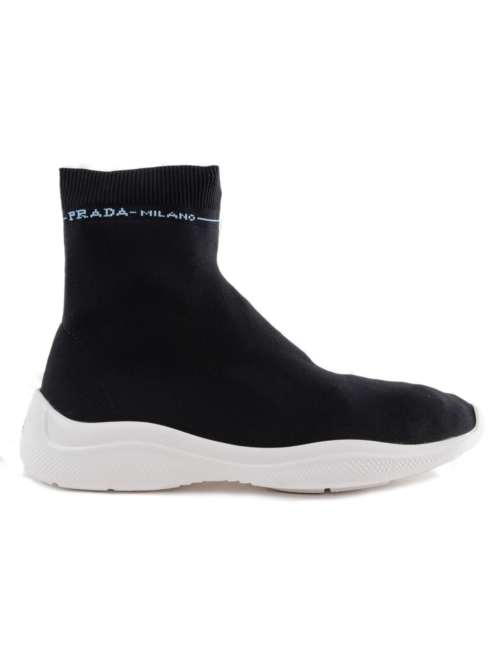 Prada Ankle Boot Knit Flat Sneakers
