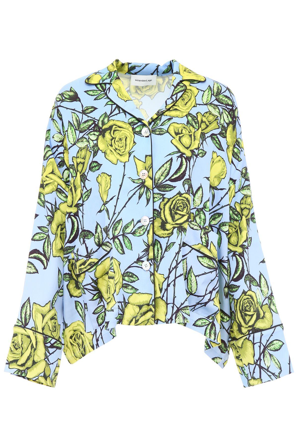 SCRAMBLED EGO Pyjama Shirt With Roses Print in Light Blue Lemon