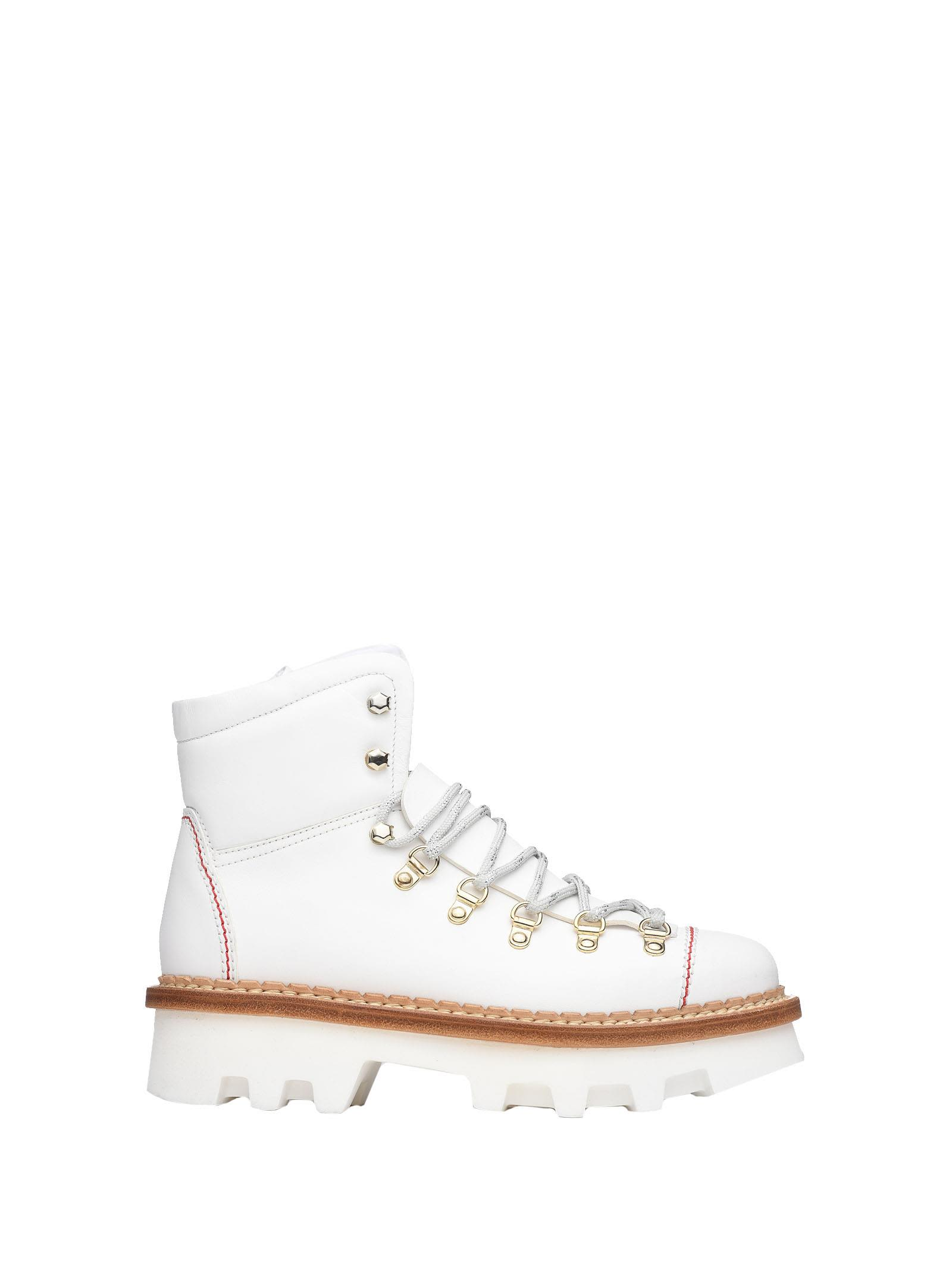 BARRACUDA White Leather Ankle Boots in Biano