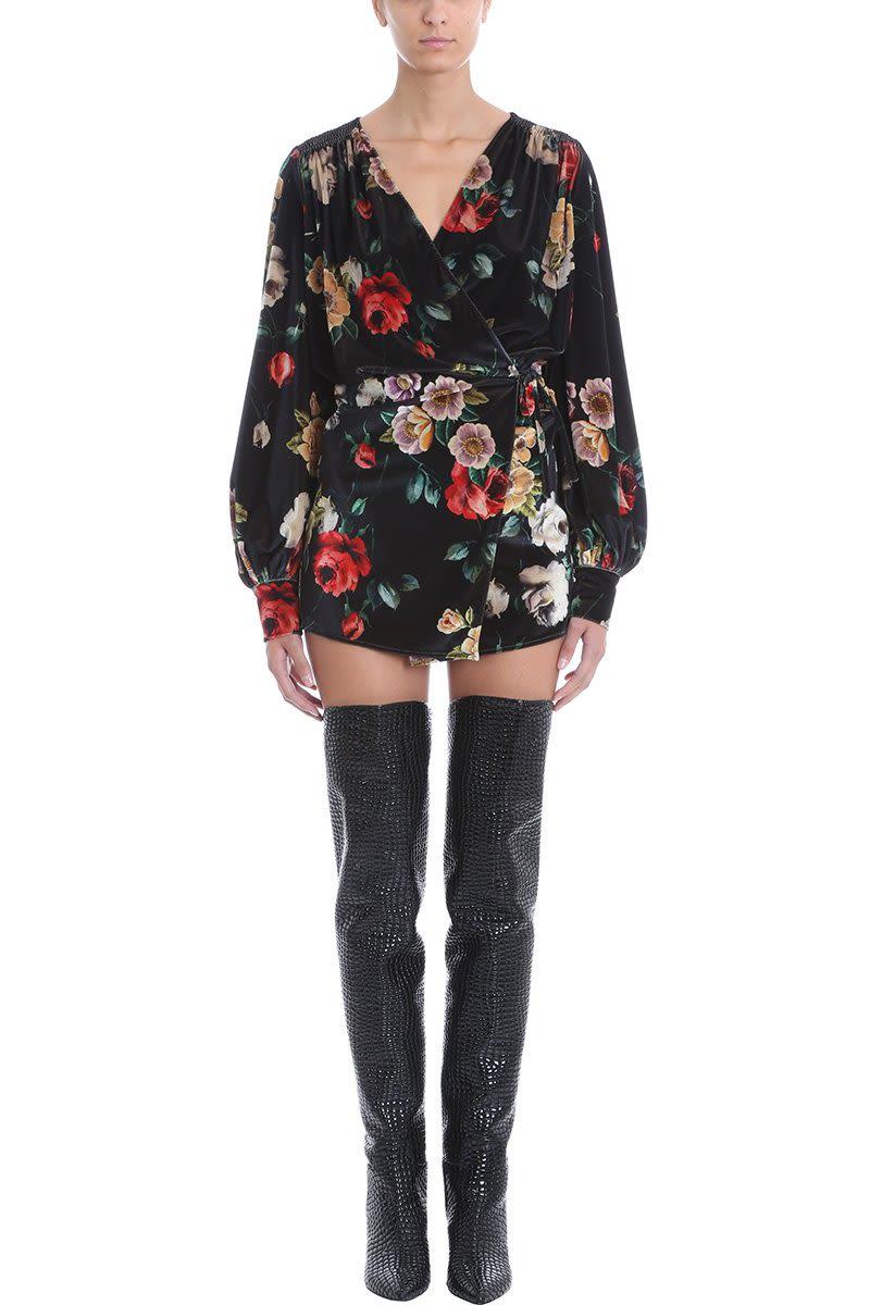 ATTICO Long Sleeve Velvet Wrap Dress