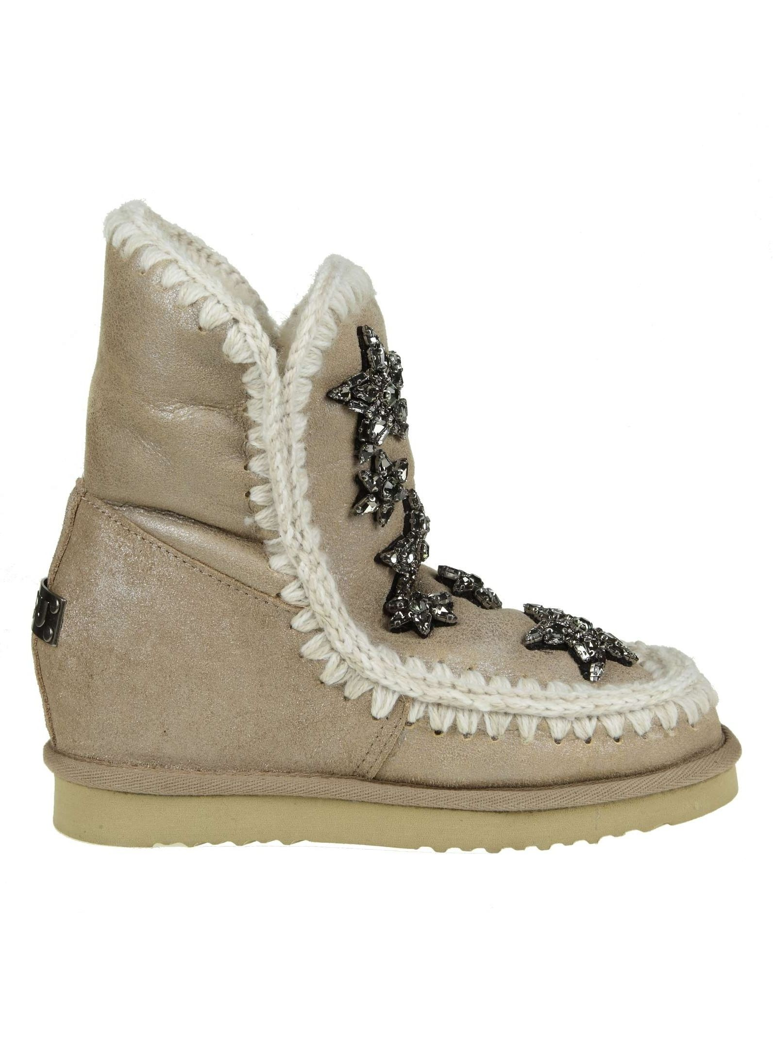 "Sneakers ""Inner Wedge"" Beige Leather With Decoration Crystal Applied in Stone"