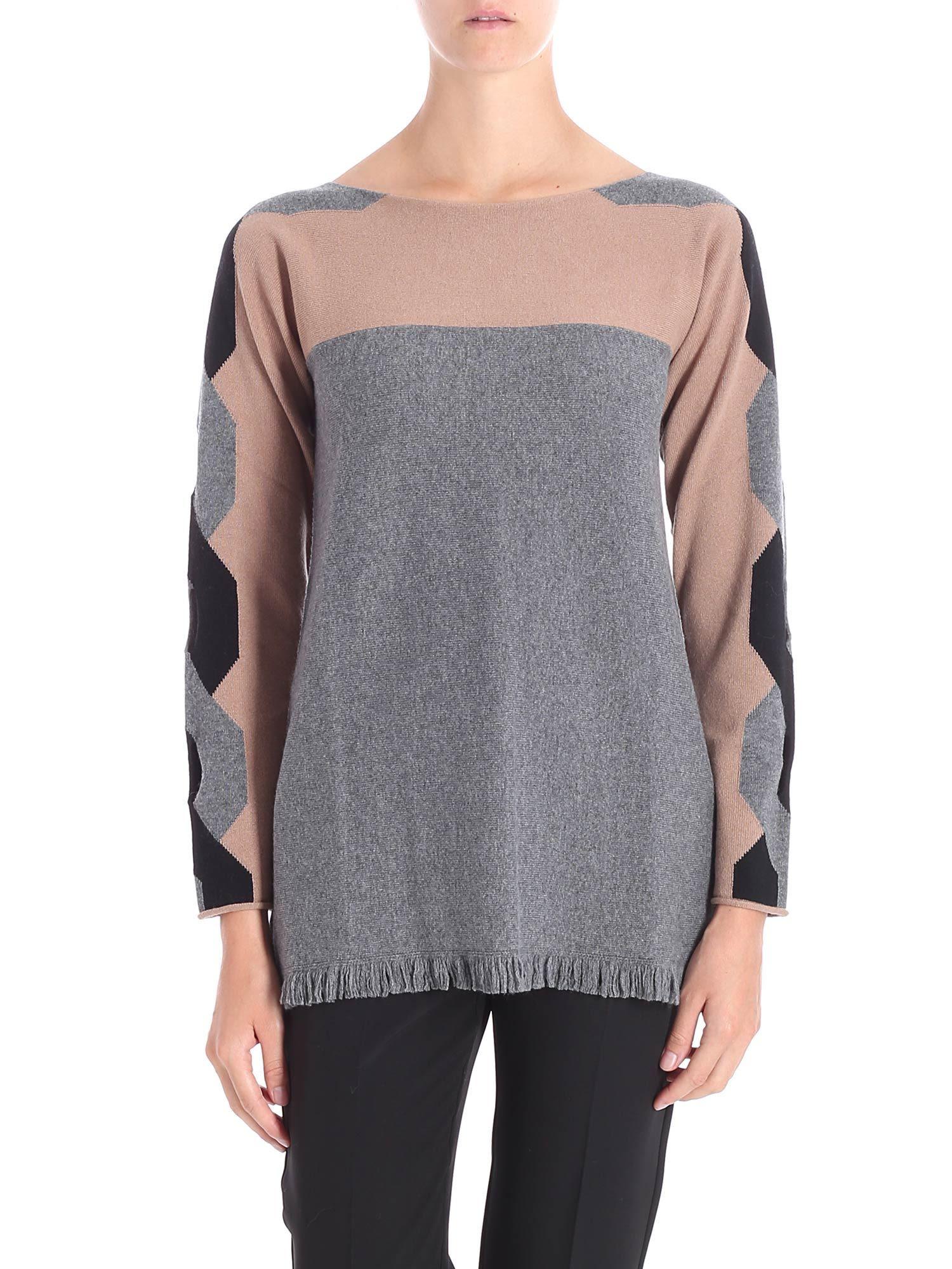 KANGRA Fringed Hem Sweater in Cammello/Grigio