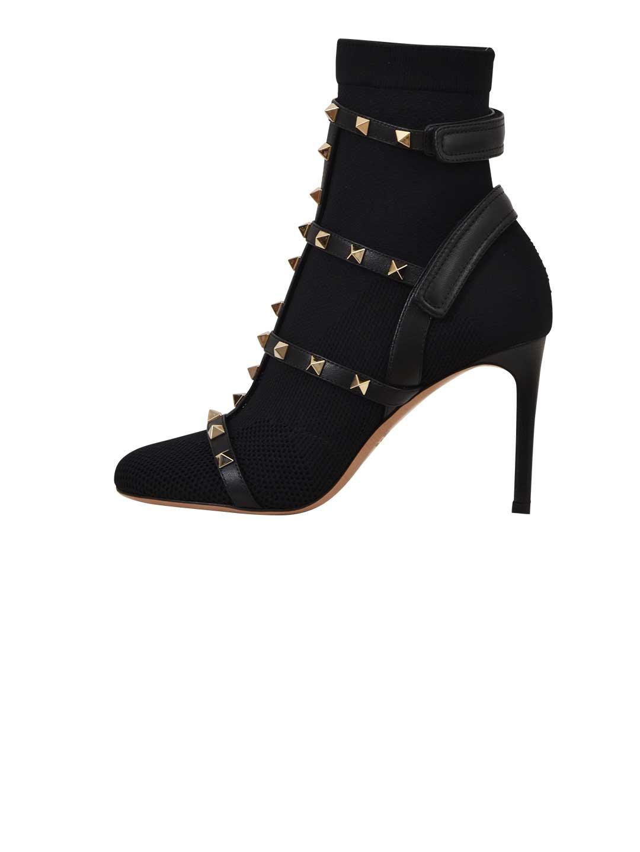 Valentino Garavani Black Rockstud Knit Boot 10655262