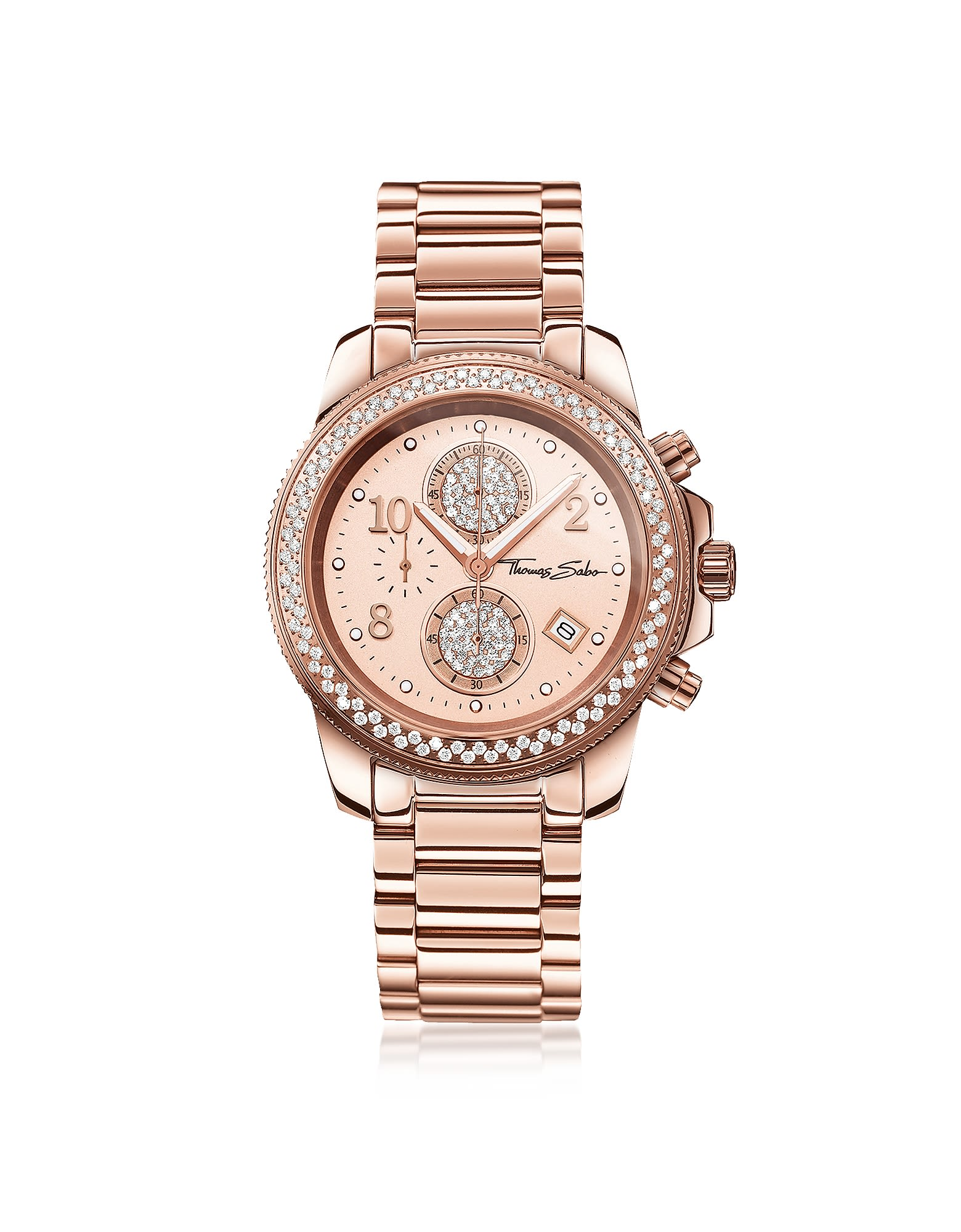 Thomas Sabo Glam Chrono Rose Gold Stainless Steel Women'S Watch W/Crystals in Pink