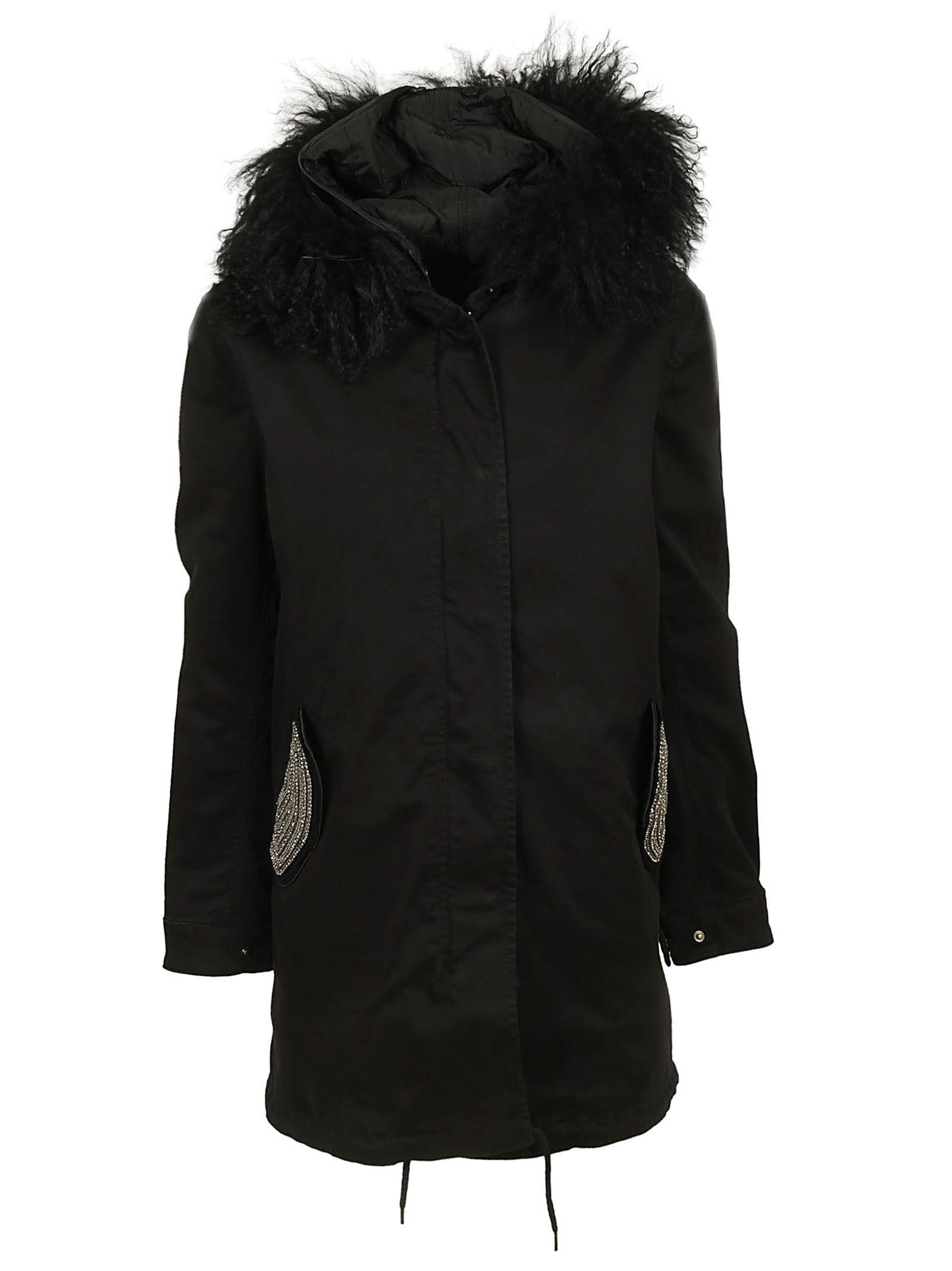 MASON'S Fur Trim Coat in Nero