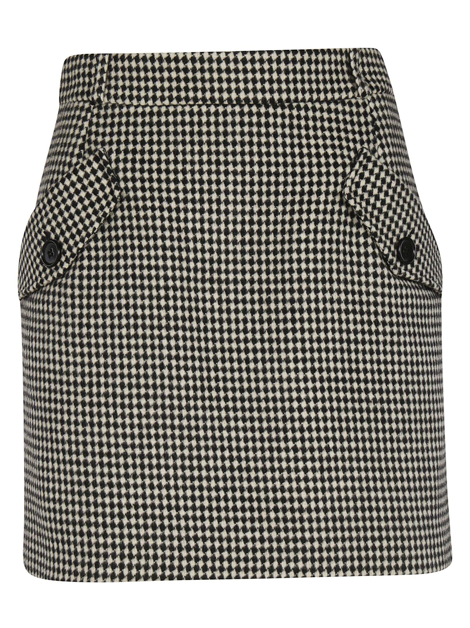 TARA JARMON Checked Skirt in Noir