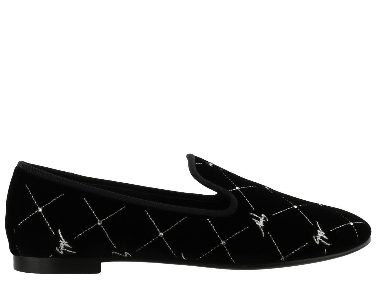 Giuseppe Zanotti Velvet flat slipper with 'Logo' motif REGAL G
