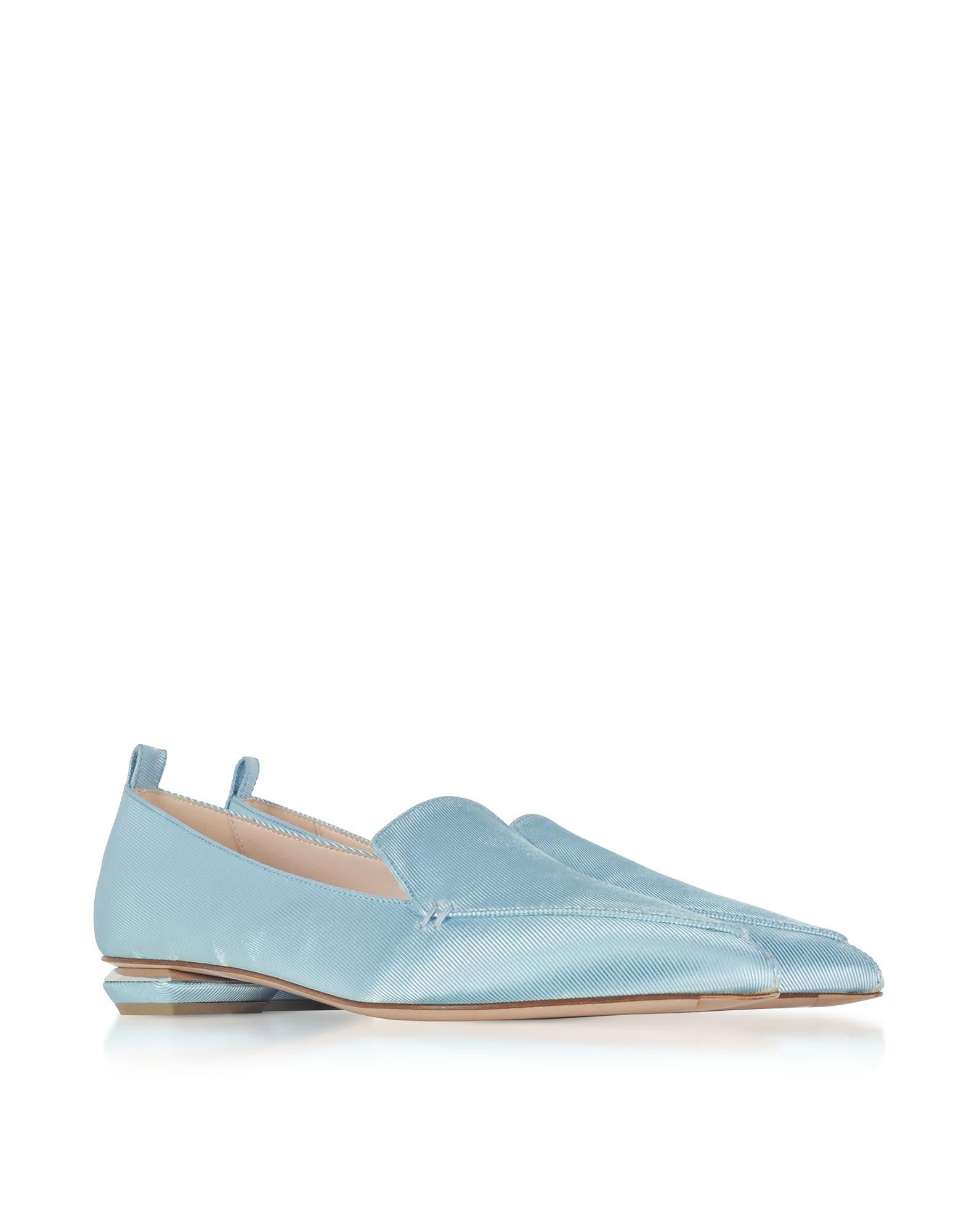 Nicholas Kirkwood Designer Shoes, Platinum Satin Beya Loafers