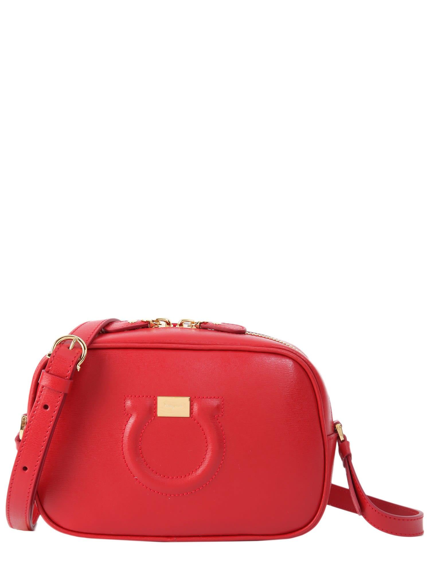 da0e13137a Salvatore Ferragamo Gancini Camera Bag In Rosso