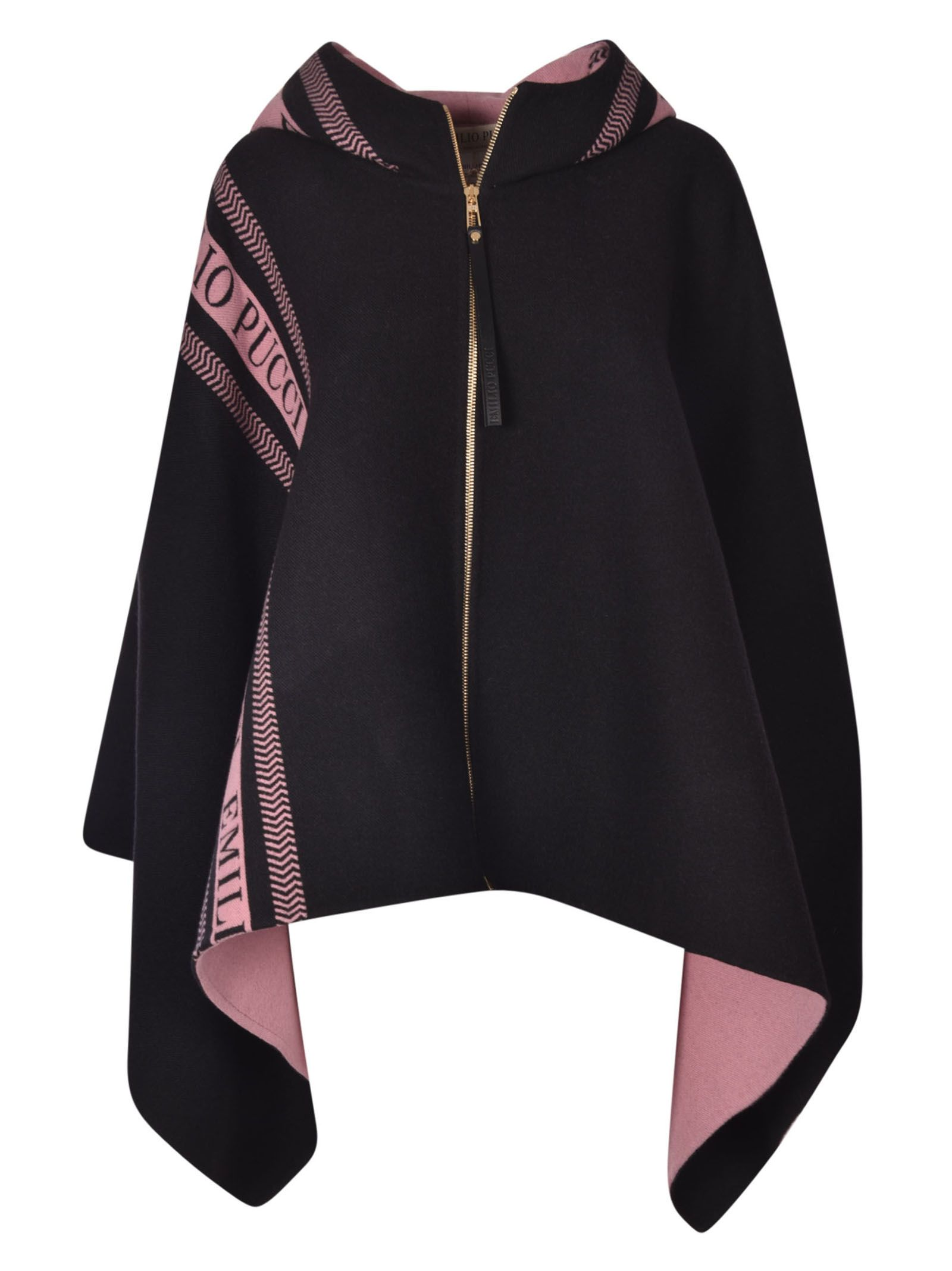 Logo Stripe Cape, Black/Pink