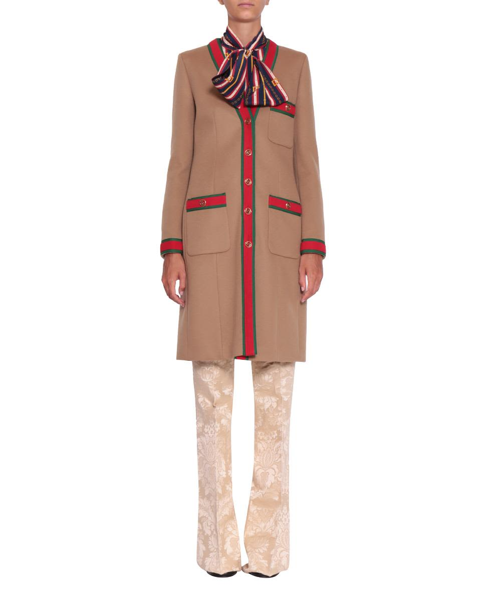 Gucci Web Trimmed Wool Coat
