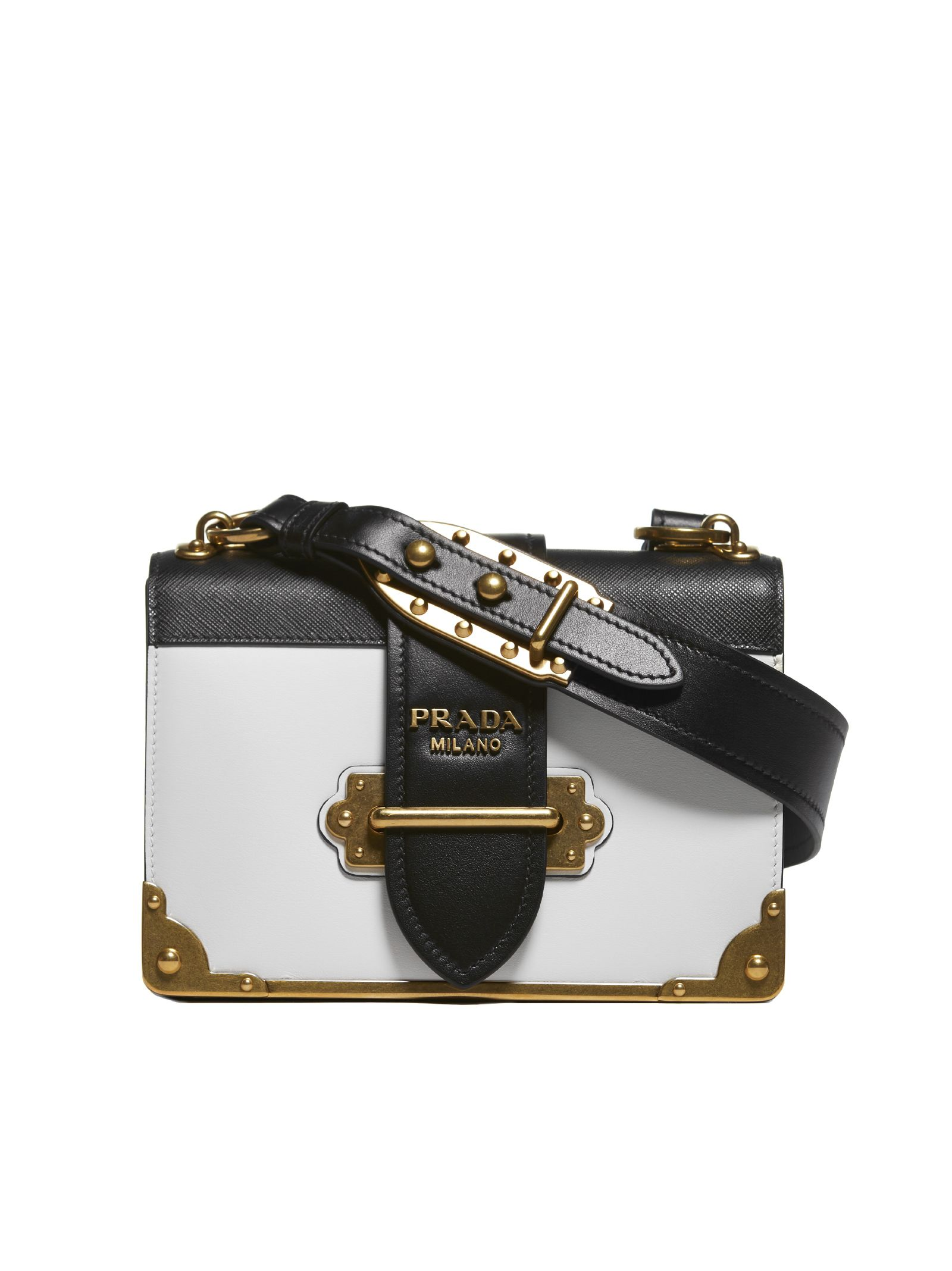 Cahier Chest Shoulder Bag in Bianco+Nero